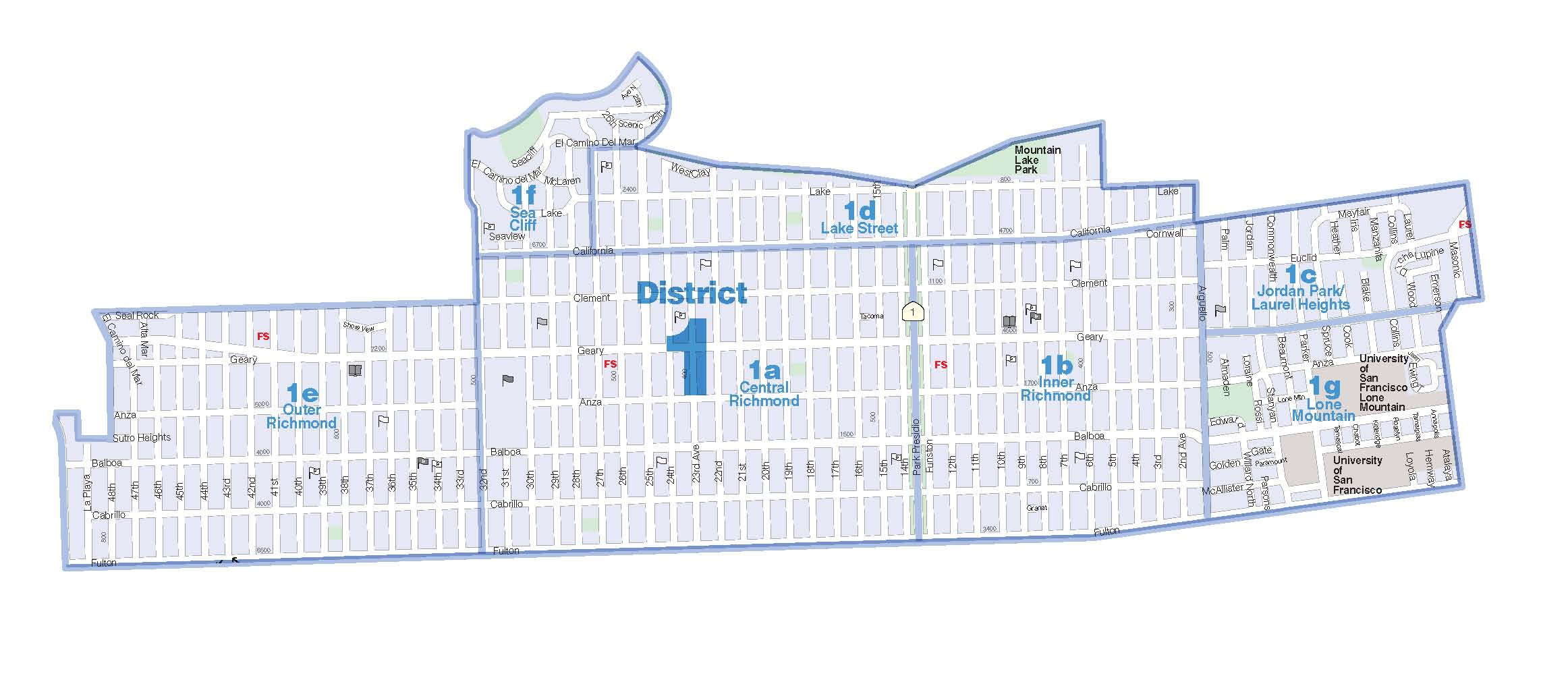 District 1 - Northwest  Sea Cliff, Lake, Jordan Park/Laurel Heights, Outer Richmond, Central Richmond, Inner Richmond, Lone Mountain