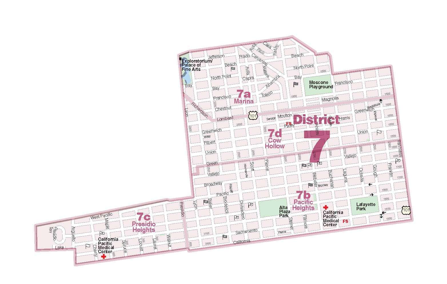 District 7 - North  Marina, Cow Hollow, Presidio Heights, Pacific Heights