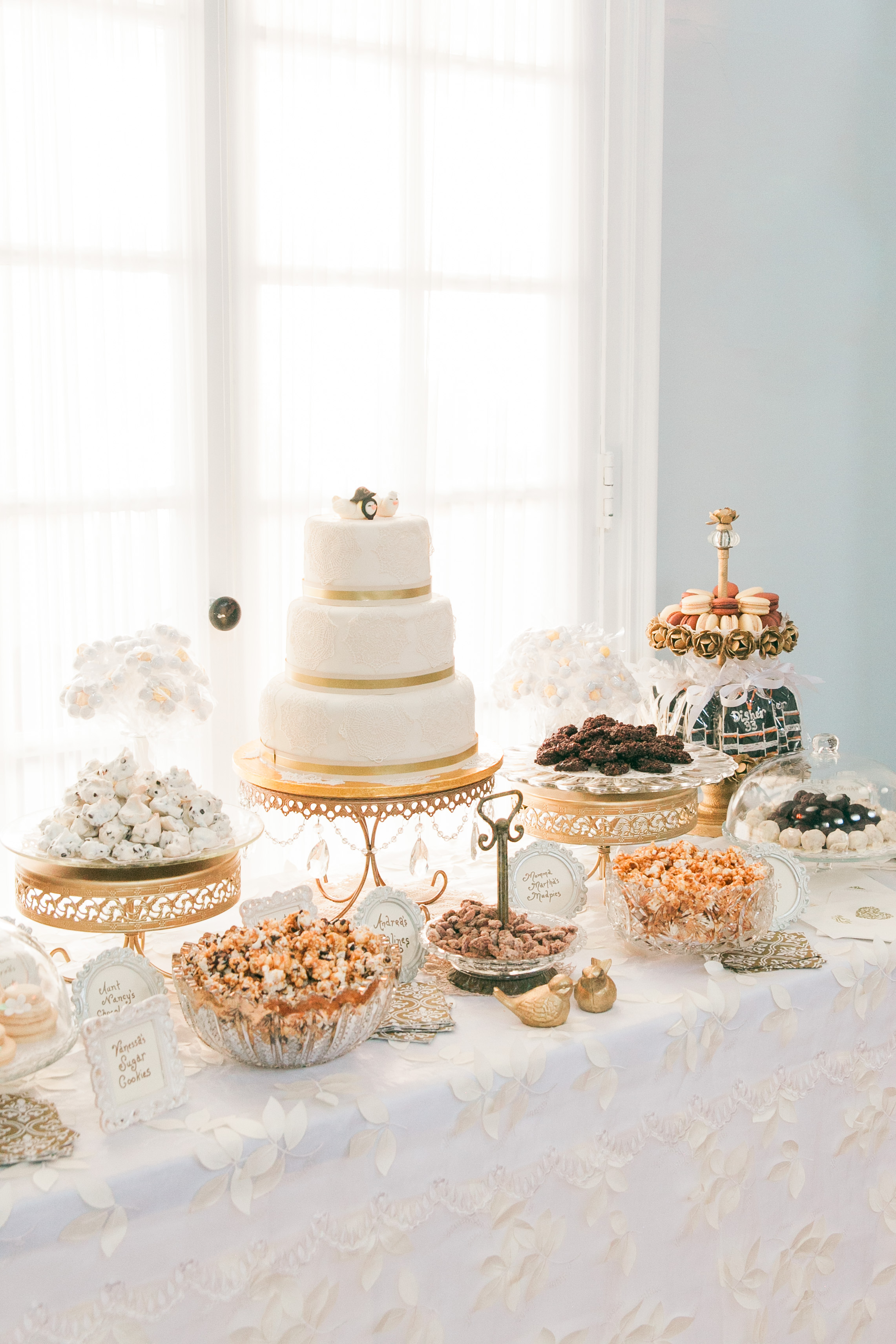 Vintage gold sweets table at Toronto wedding