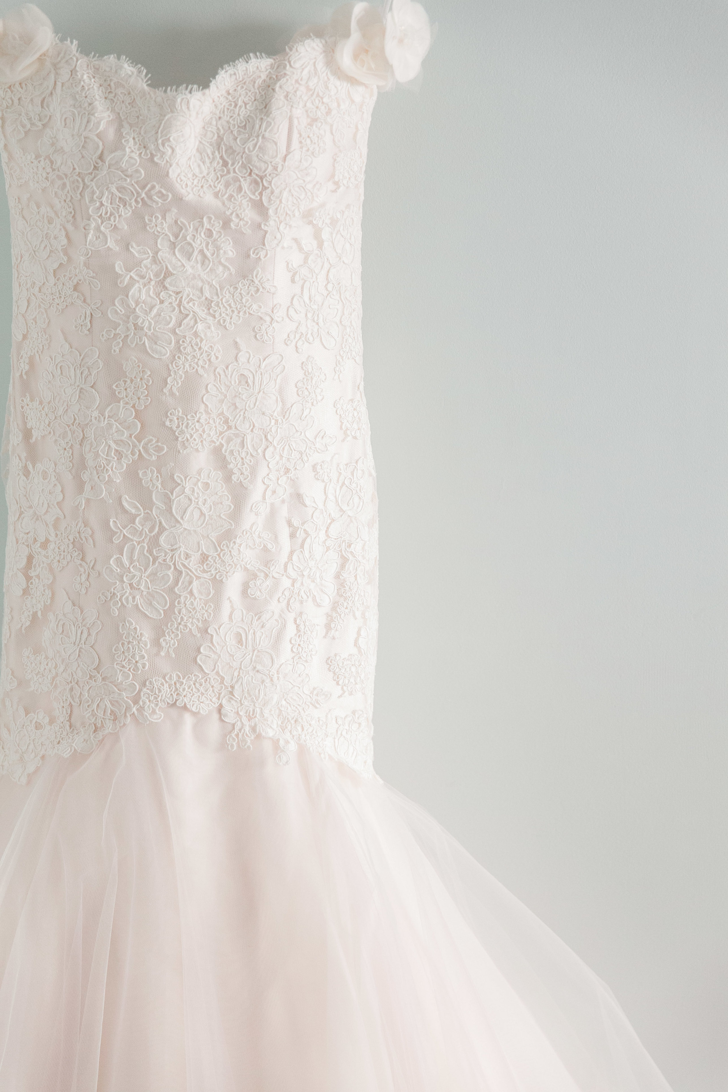 Blush pink lace and tulle wedding dress