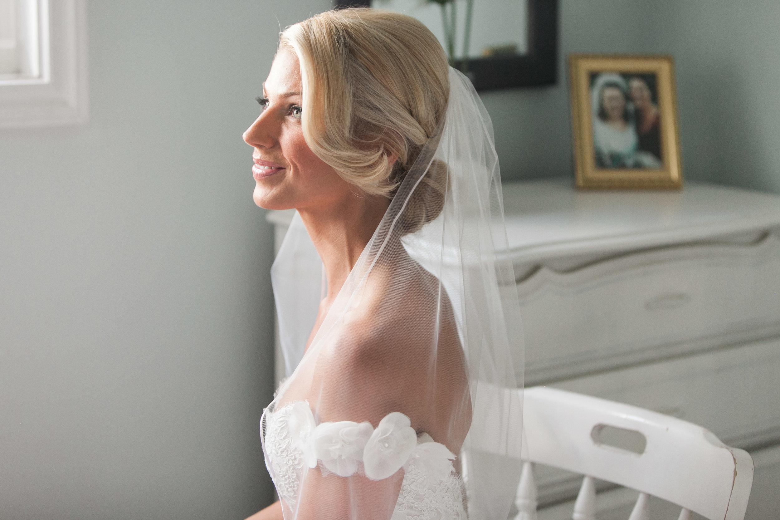 Bride portrait in childhood bedroom