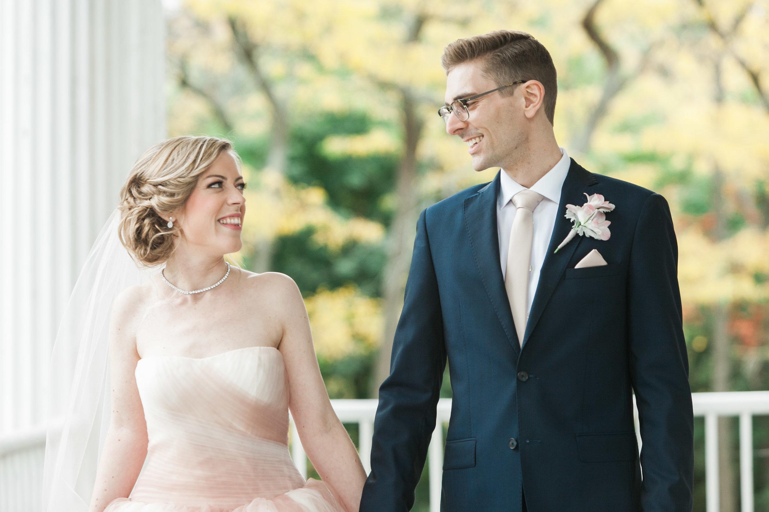 Happy bride and groom in Niagara