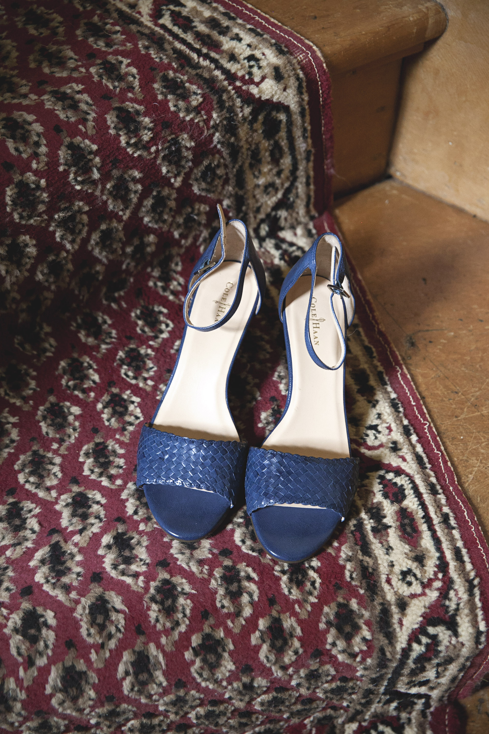 Blue Cole Haan wedding shoes