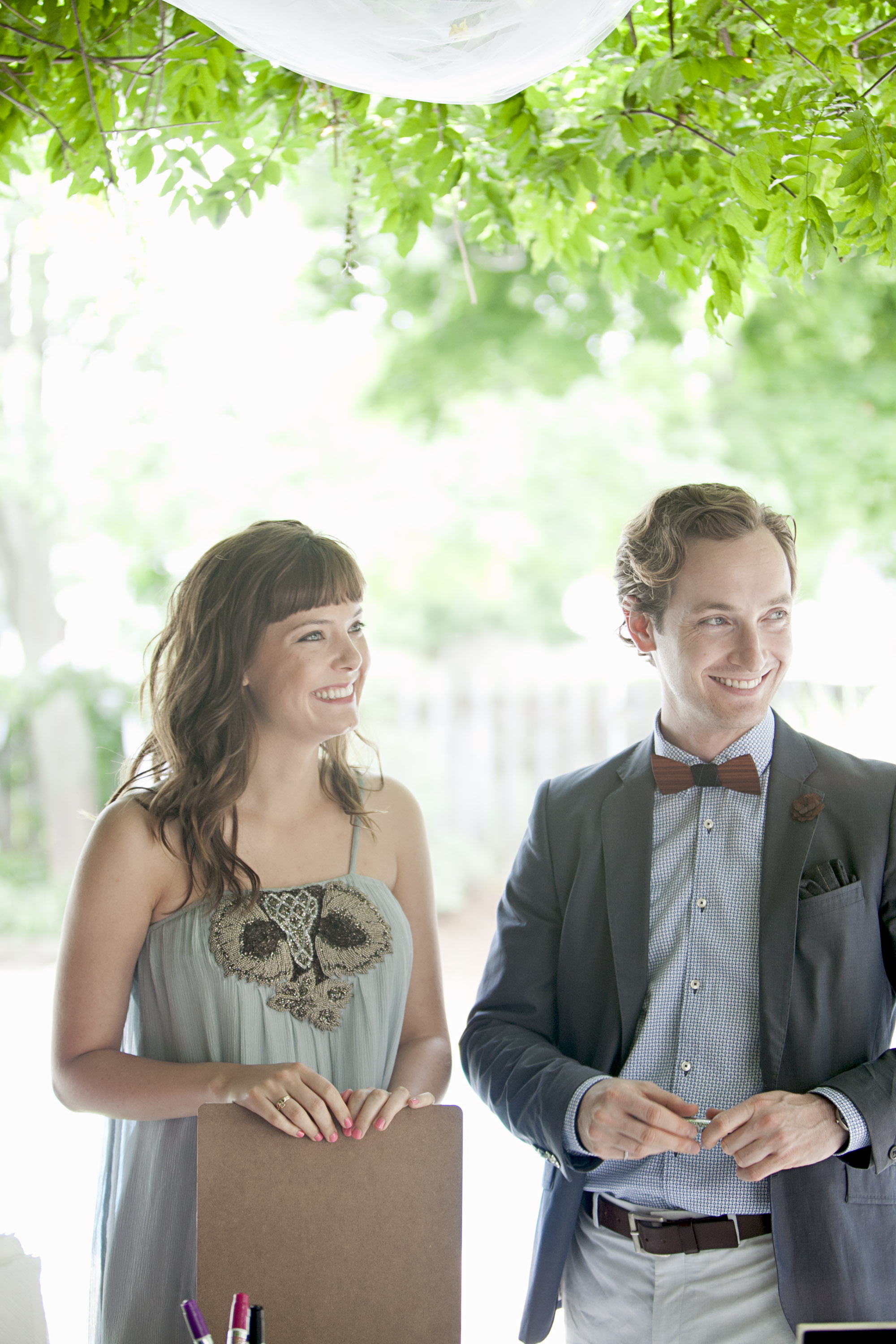 Stylish wedding guests at summer wedding