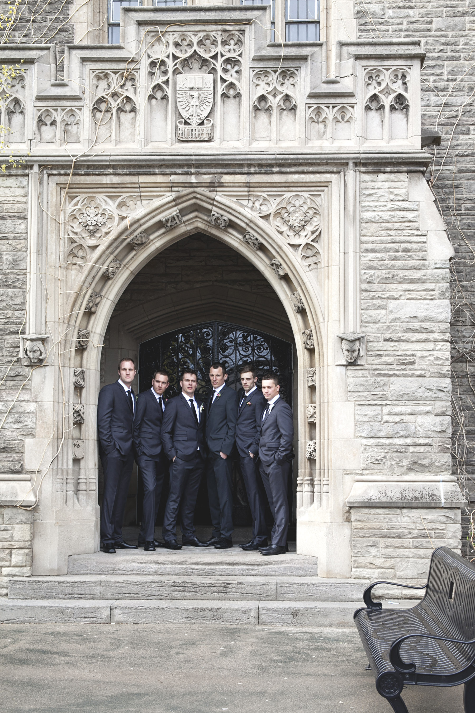 Groomsmen photos at McMaster University in Hamilton