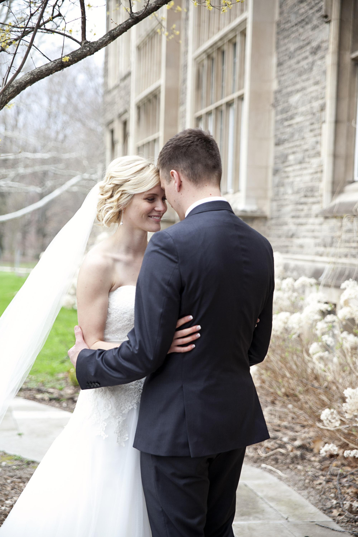 Bridal photos at McMaster University in Hamilton