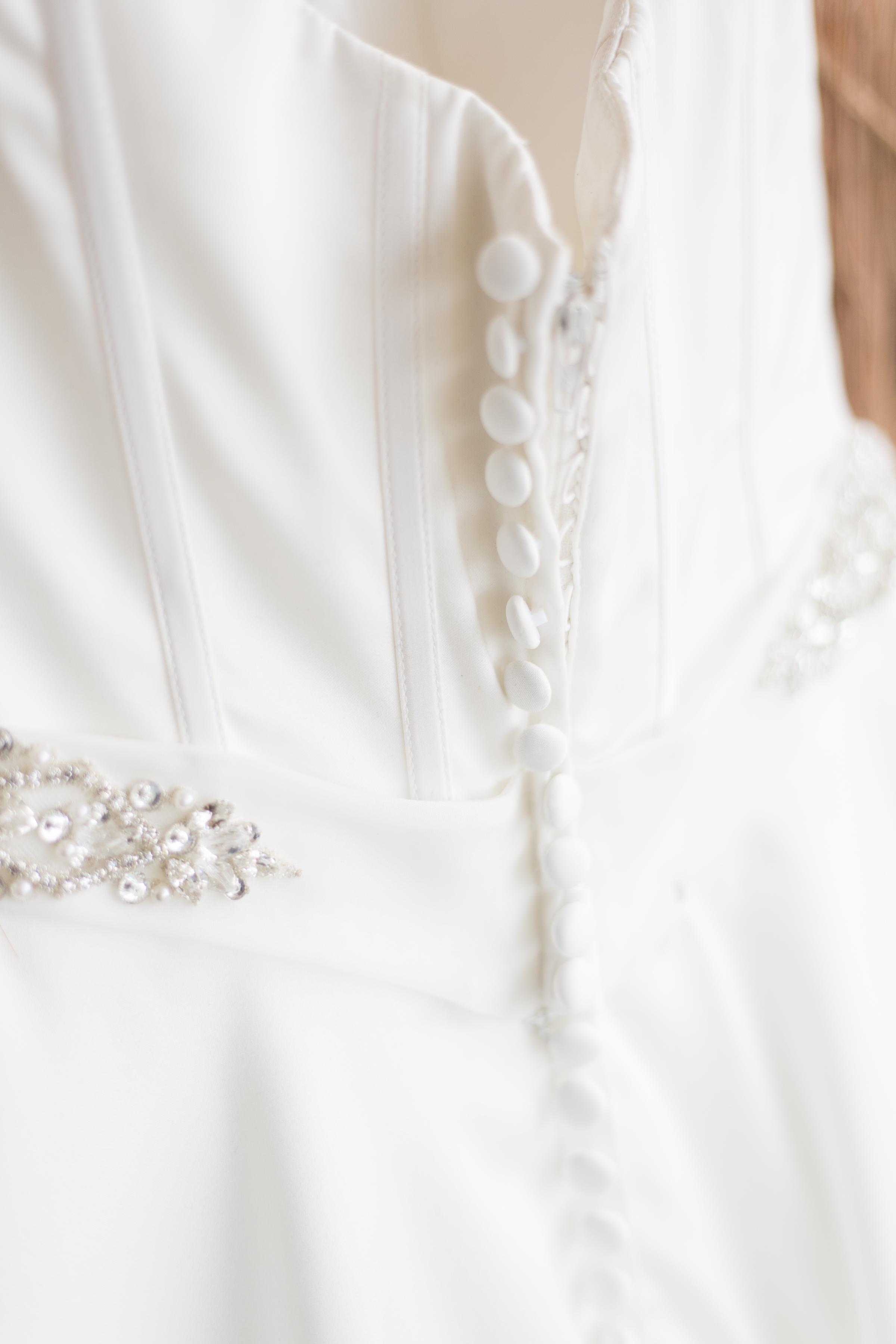 back of wedding dress details