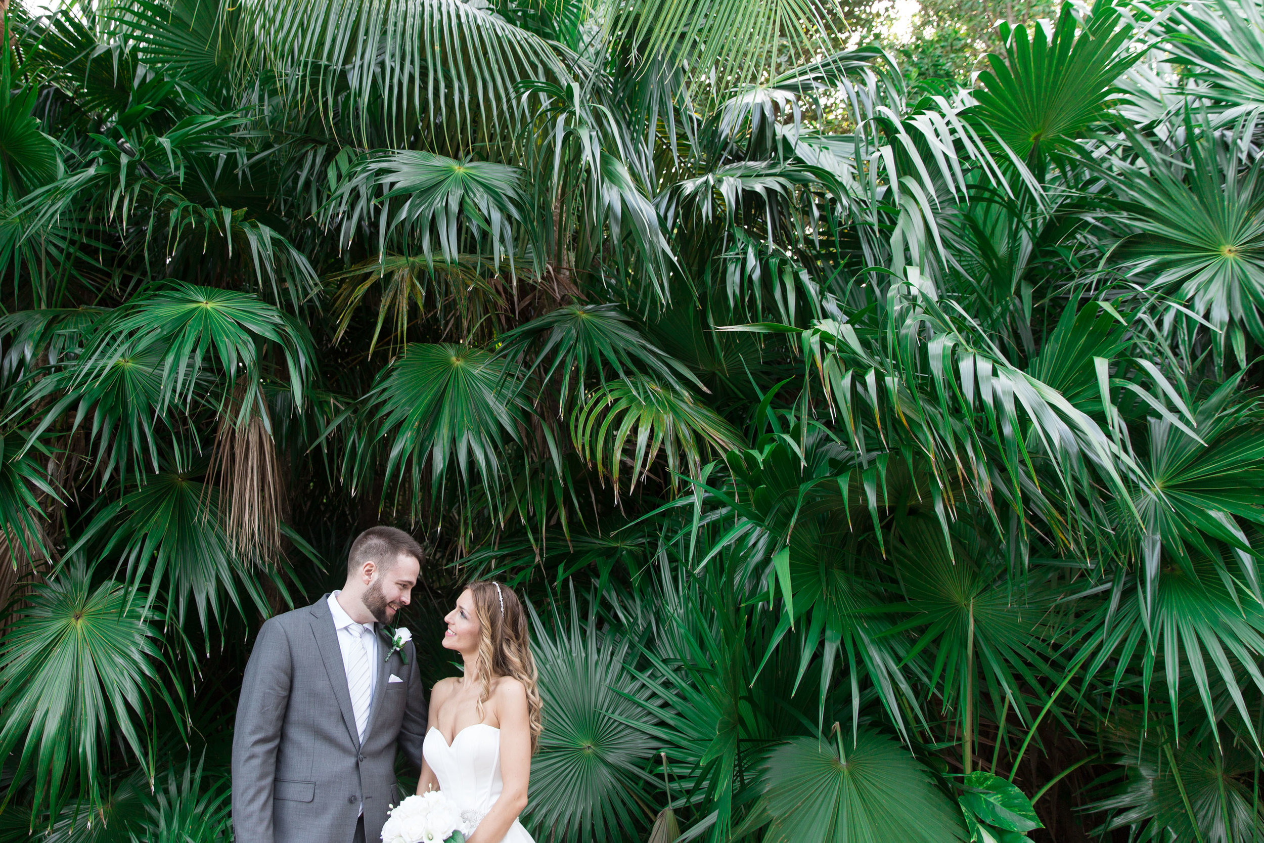 bridal portraits in the palm trees
