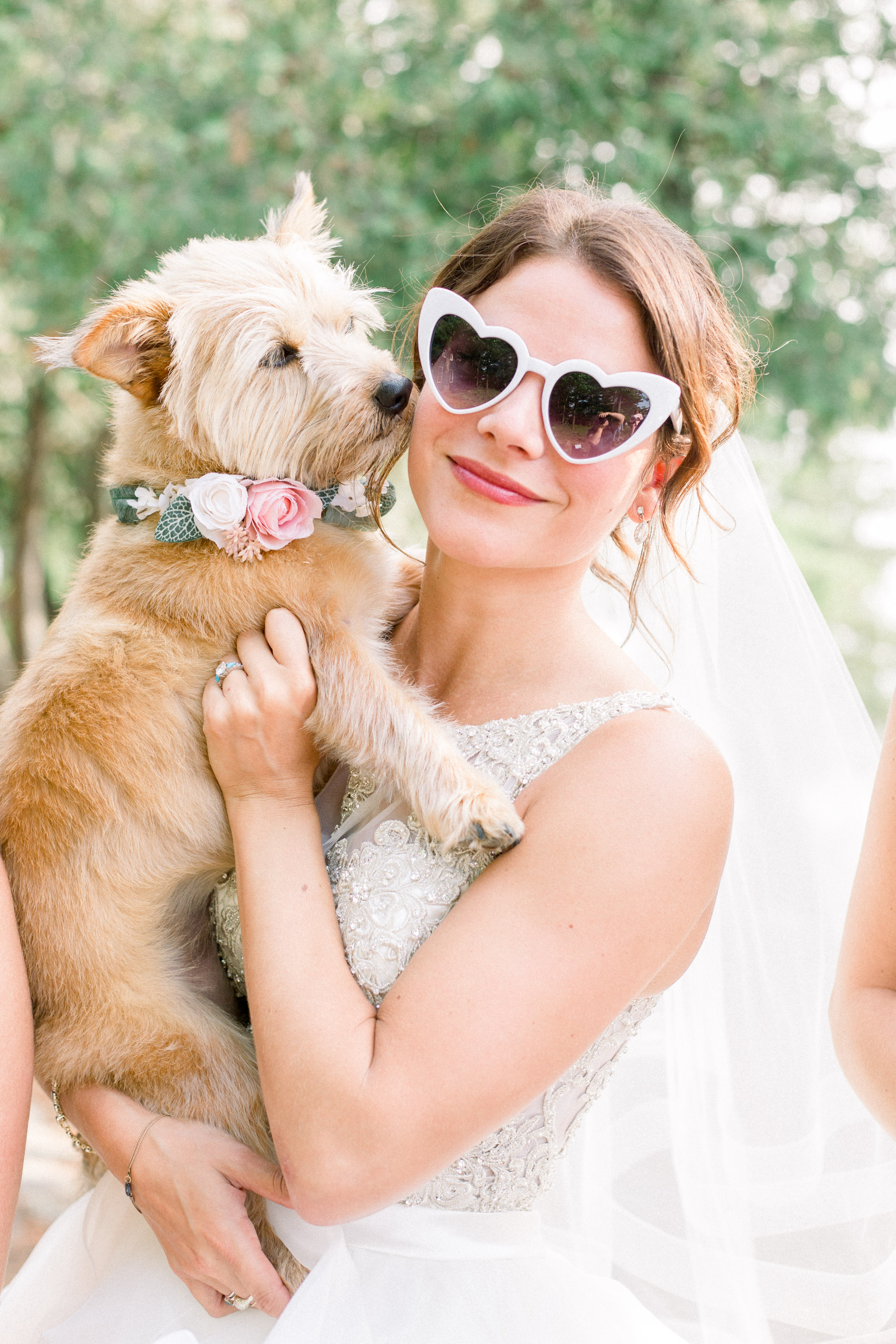 Funky bride with her dog.