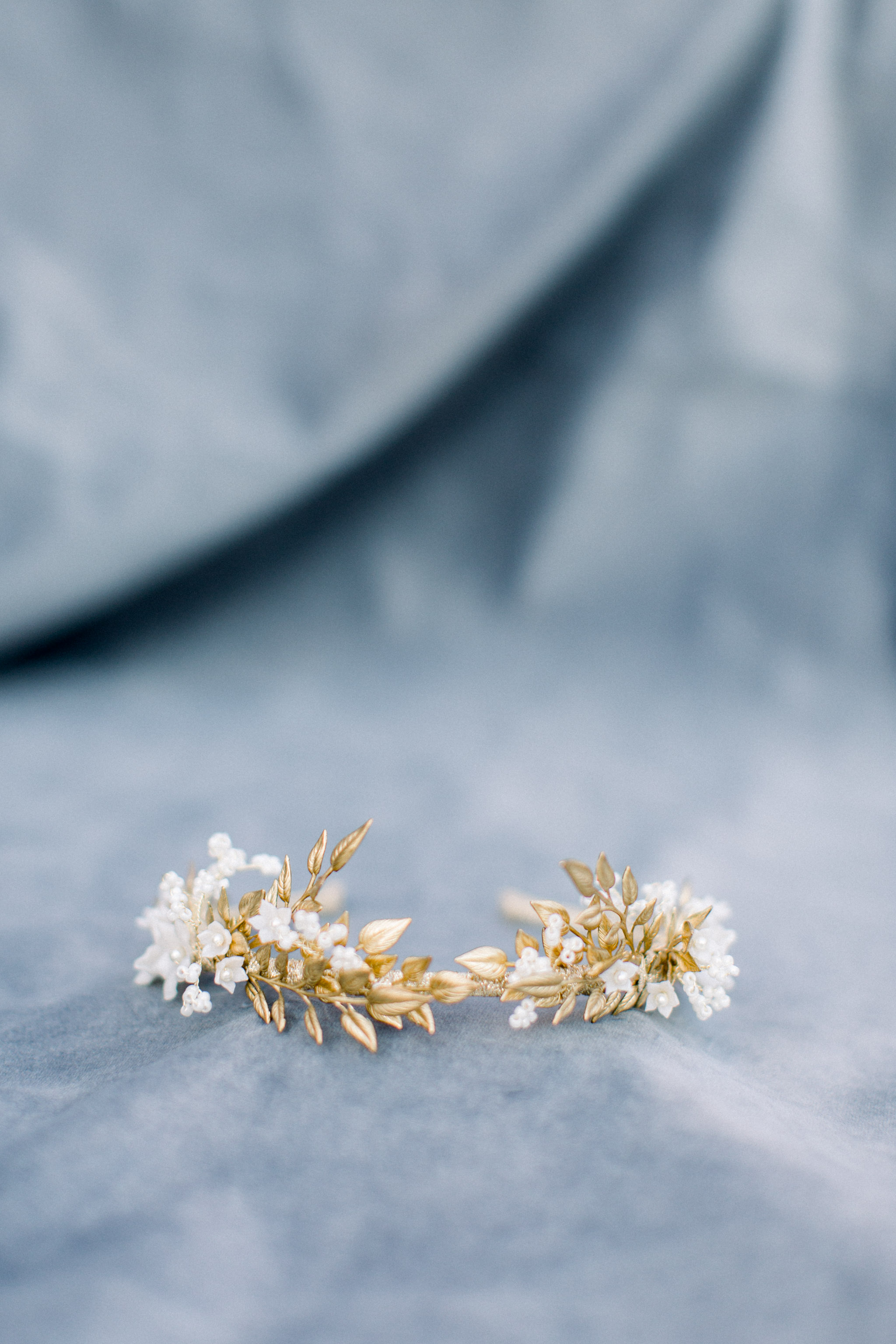 Gold wedding accessories.
