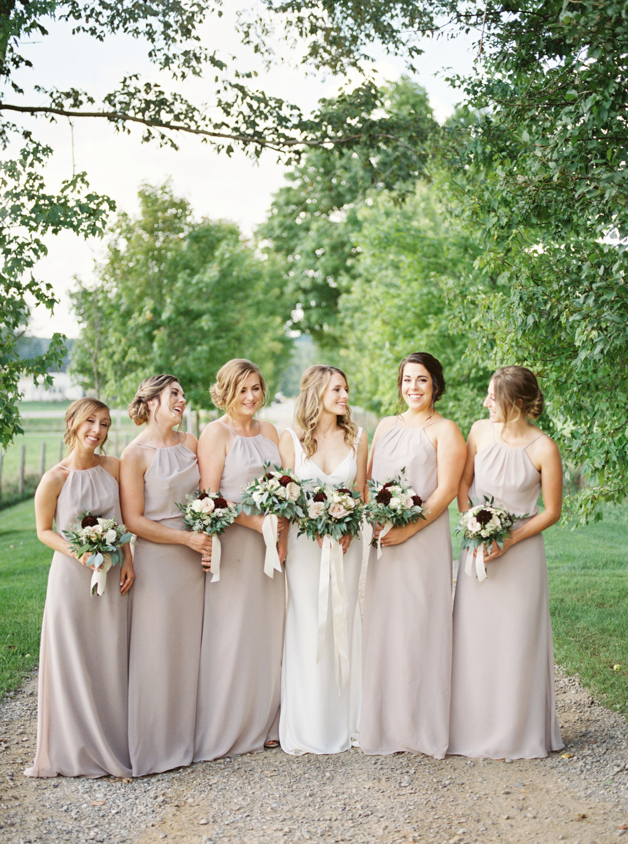 Bridesmaids photos outside.