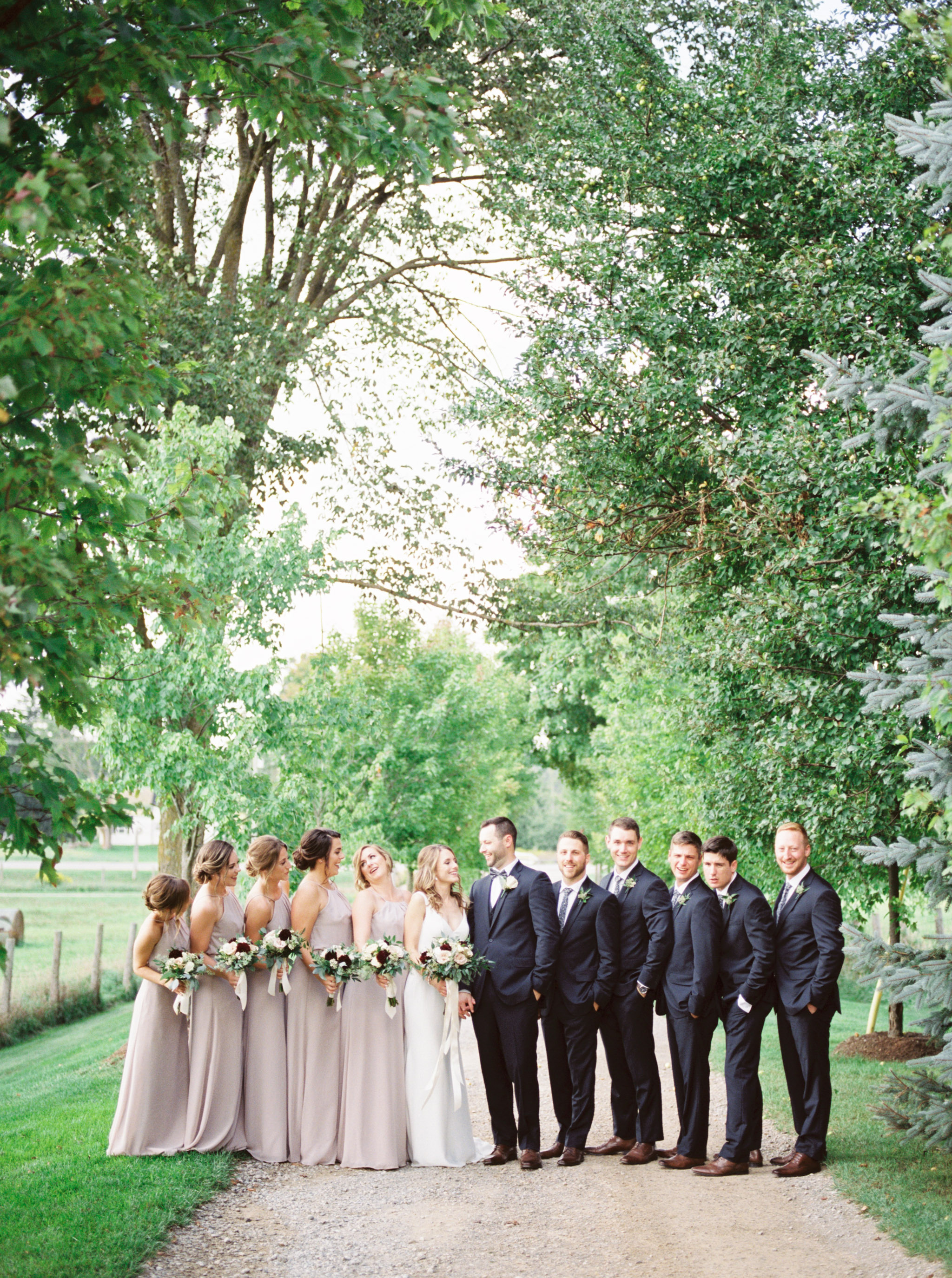 Bridal party photos at a farm.