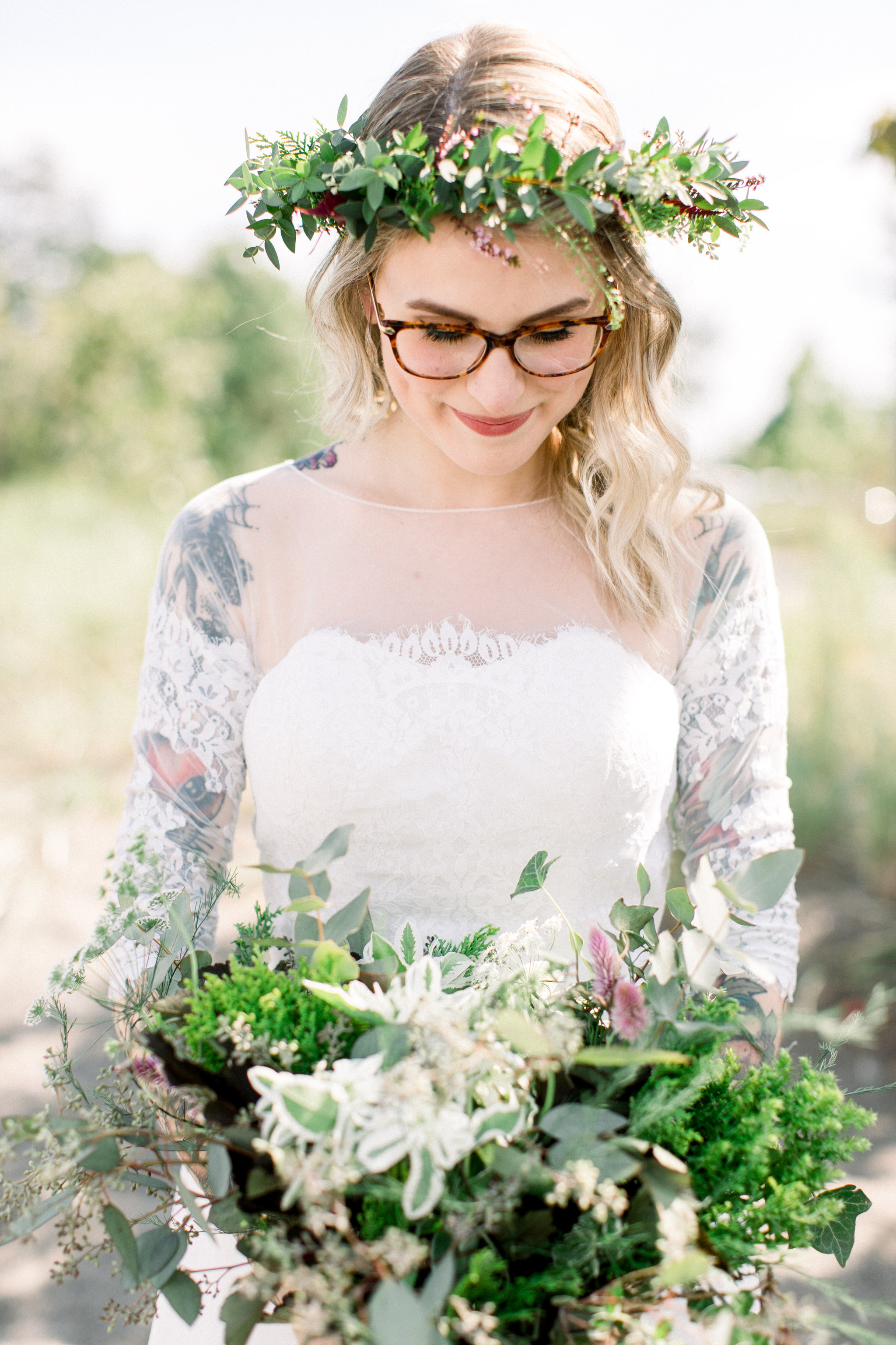 Bride wearing a floral crown.