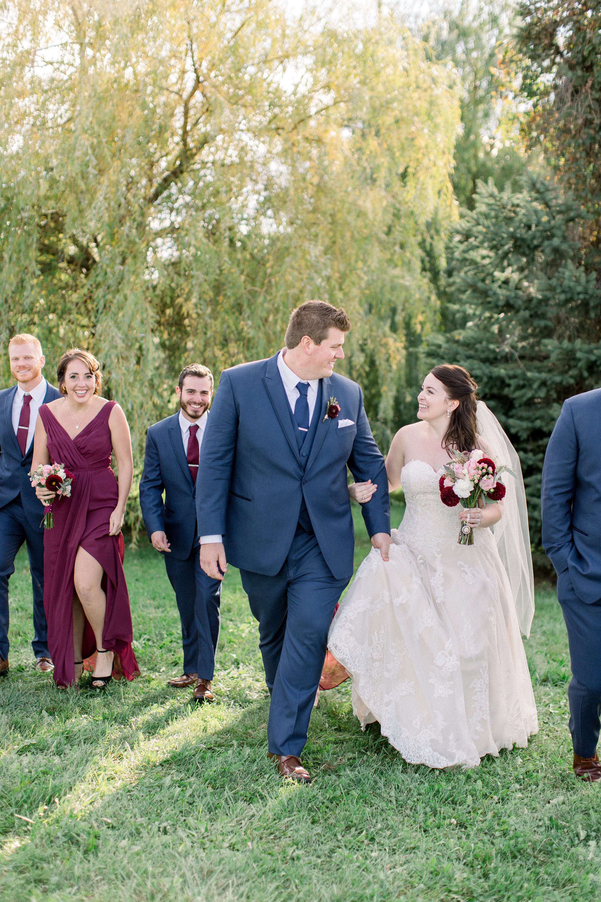 Bridal party photos outside in the Fall.