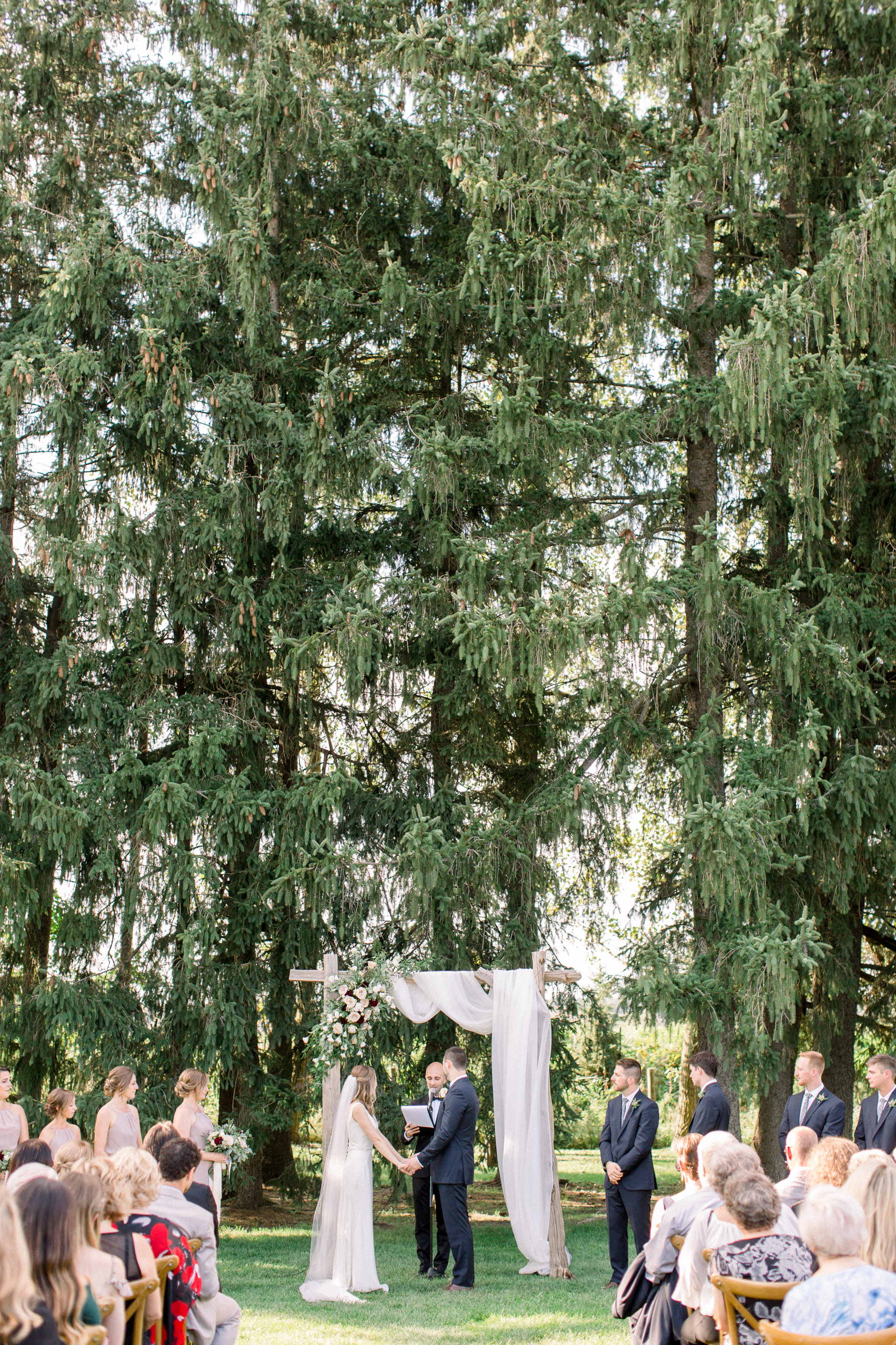 outdoor wedding ceremony at Cambium Farms.