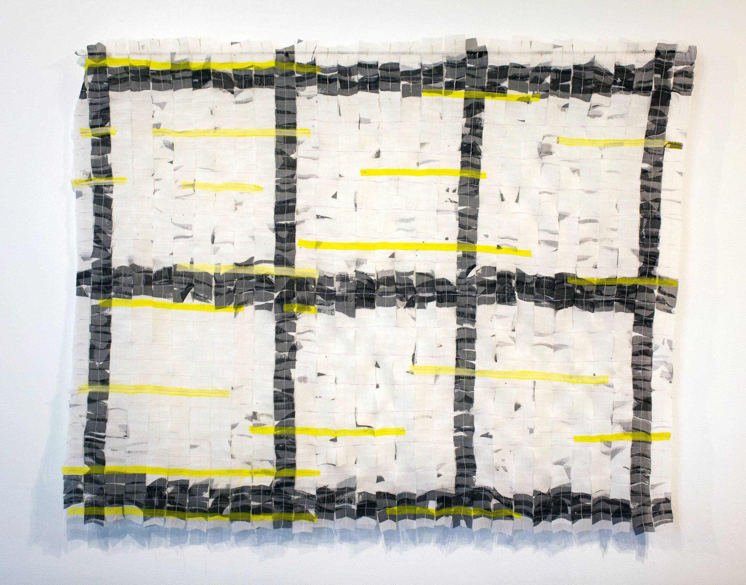 "Sewn Grid   silk organza, thread, dye  15"" x 25""  2018"