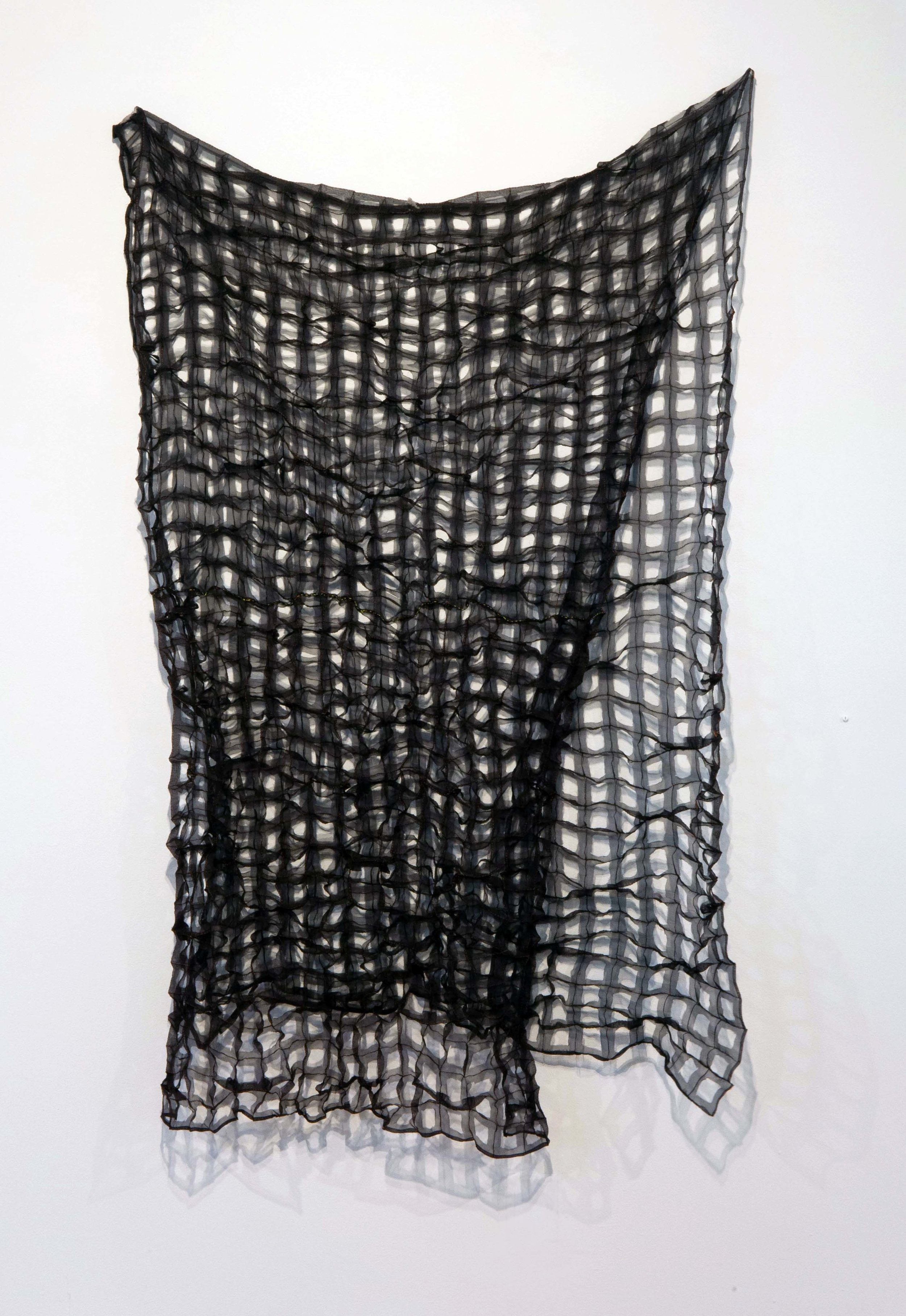 Stitched Grid   silk organza, thread  silk, dye stitching  2018