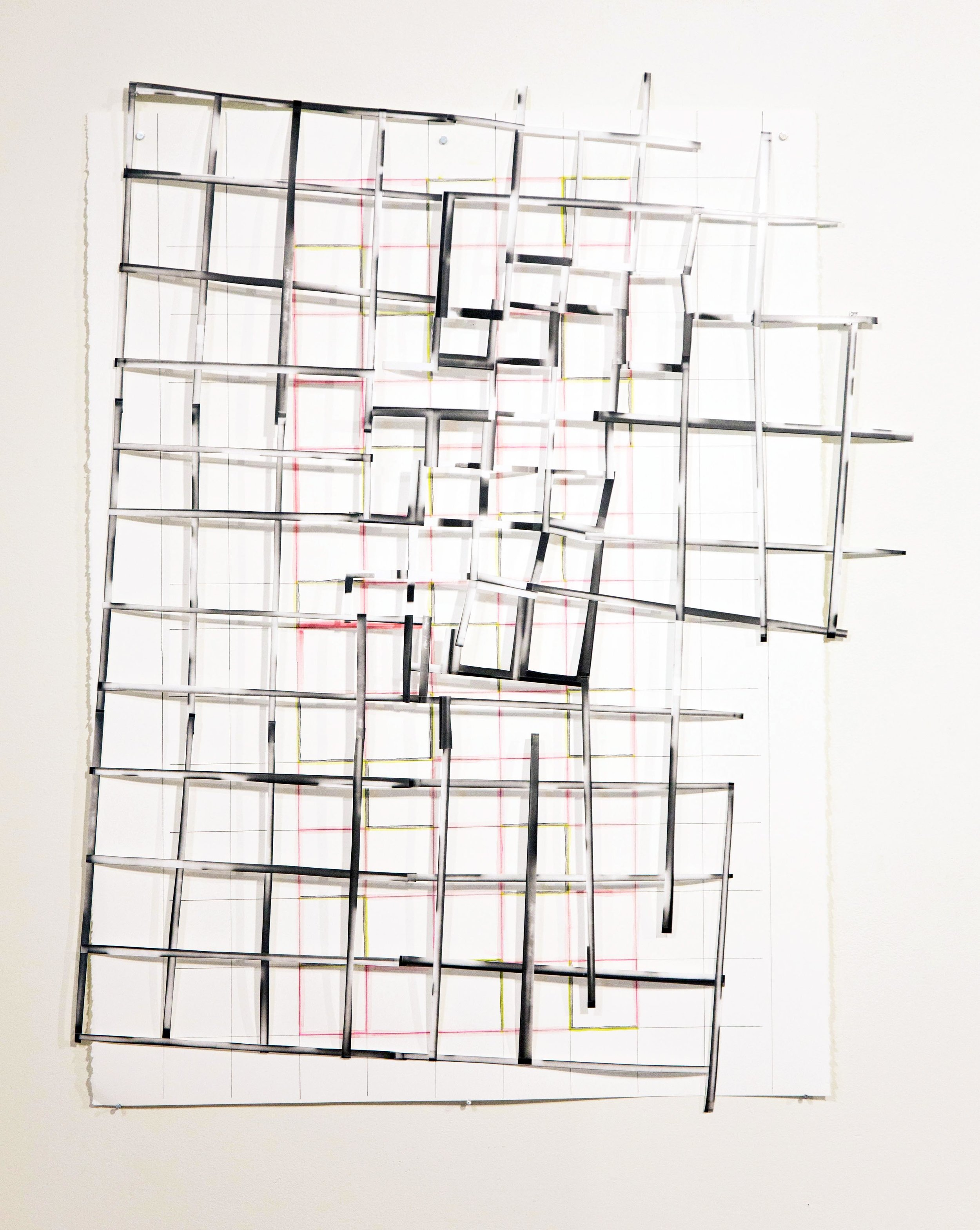 "Grid Collage #1   paper, colored pencil, photograms  22"" x 31""  2018"