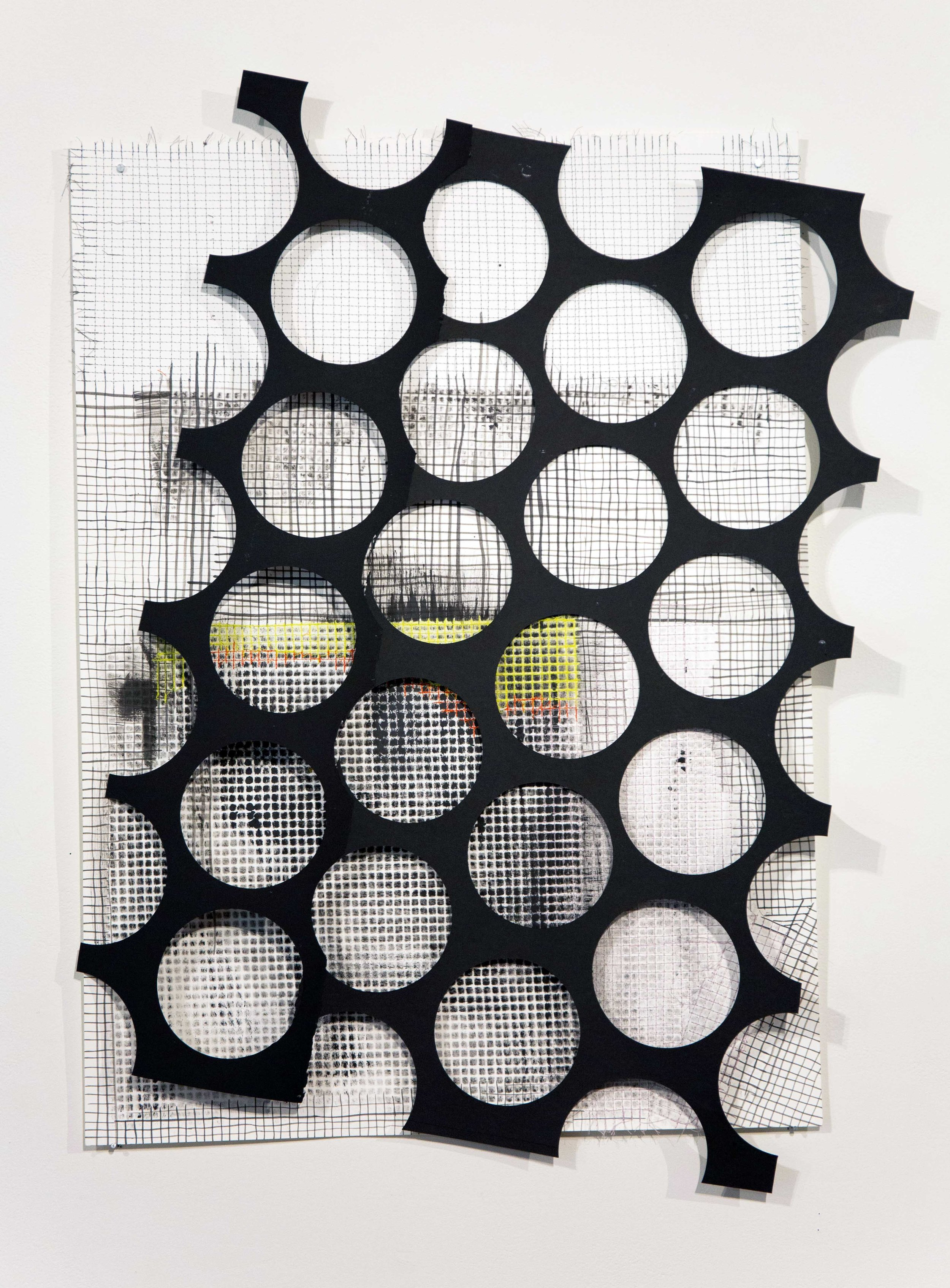 "Grid Collage #2    paper, ink, thread   21"" x 33""   2018"