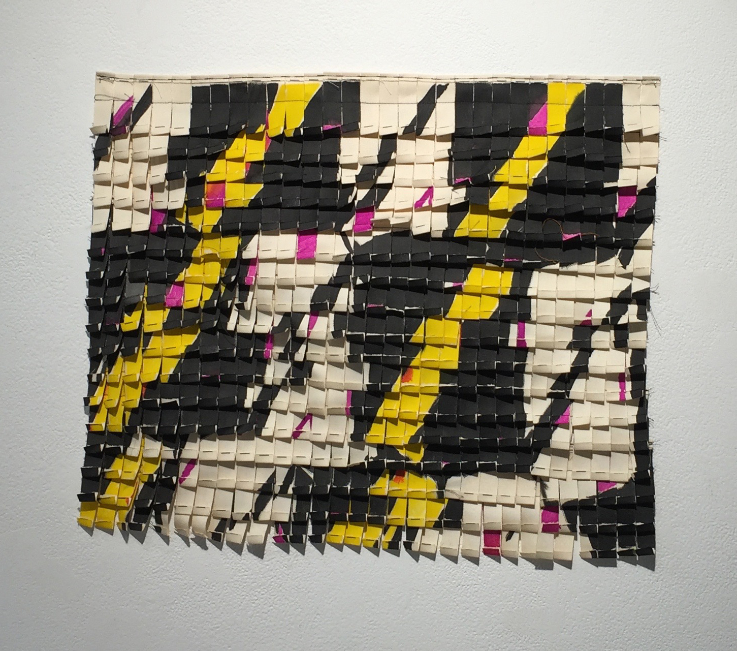 "Tiled Repeat   cotton tabs, ink, thread  18"" x 24""  2015"