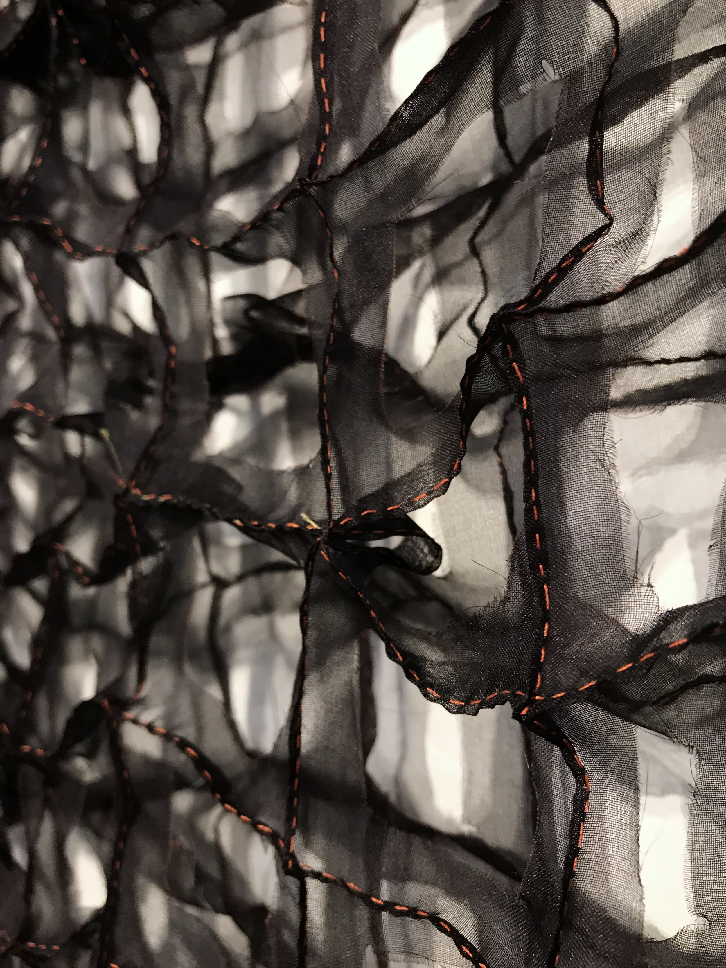Stitched grid, detail   silk organza, thread  2018