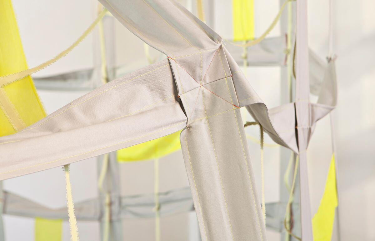 Grid Curtain, detail   canvas, wood, silk, thread  12'h x 45'w  2018