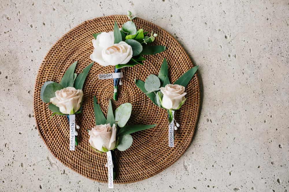 Rose Greenery Grooms Buttonhole - Wedding Flowers Hunter Valley