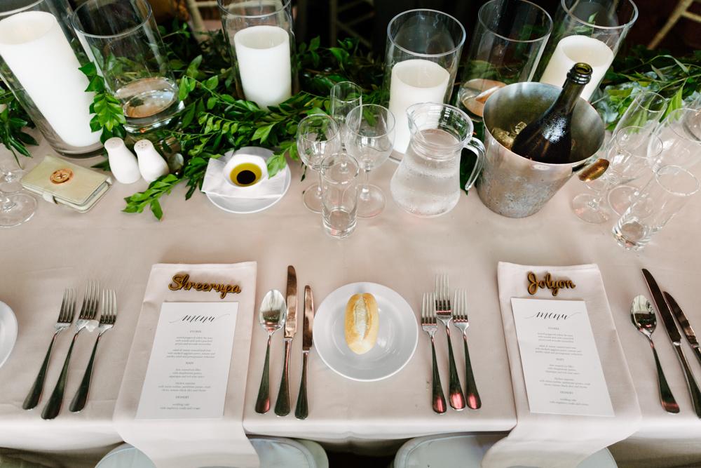 Greenery Centrepiece + Printed Menus - Wedding Flowers + Invitations Hunter Valley