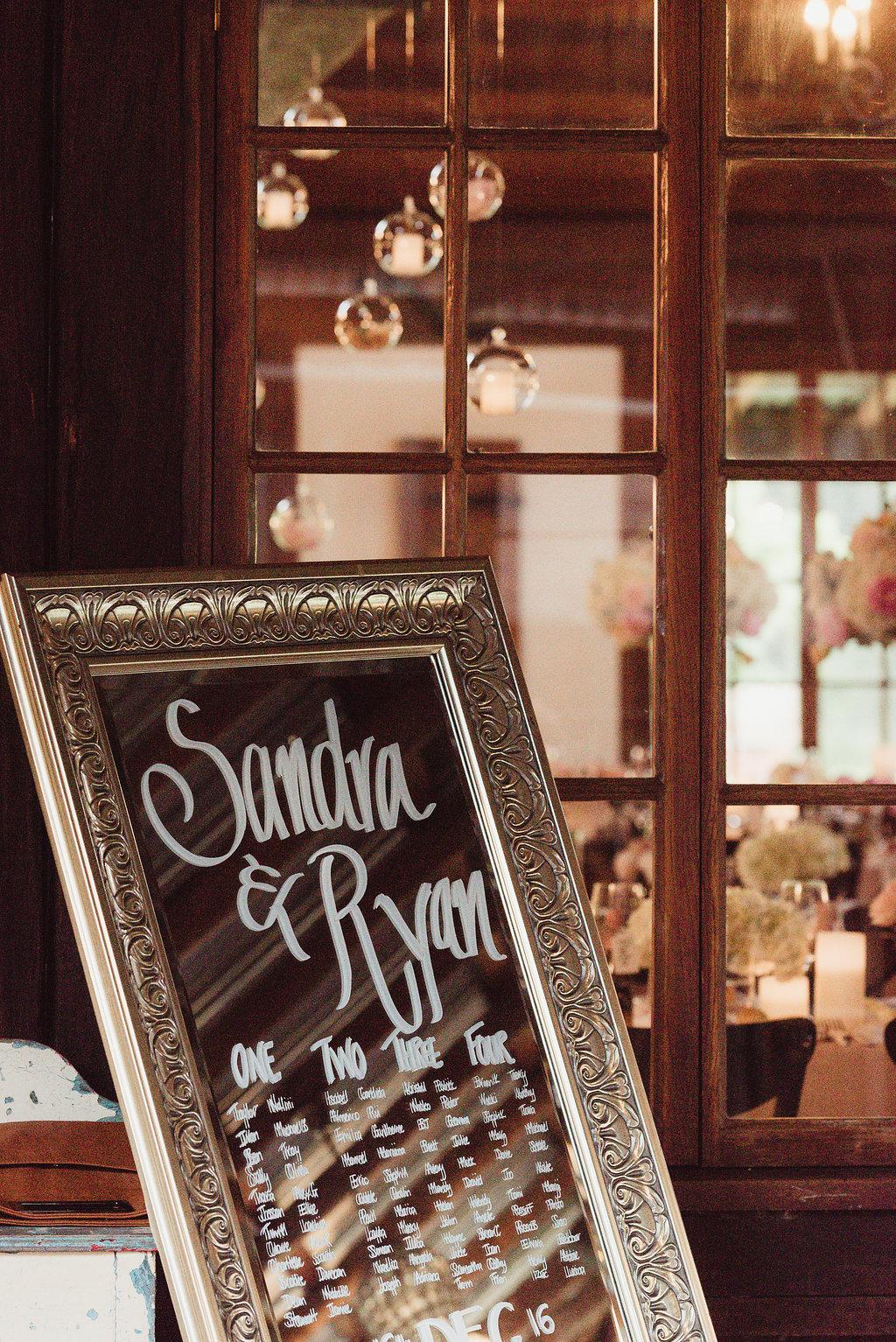 Mirror Seating Plan - Wedding Styling Hunter Valley