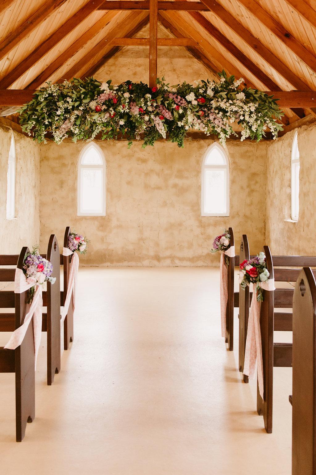 Hanging Flowers Installation & Ceremony Pew Flowers - Wedding Flowers Hunter Valley