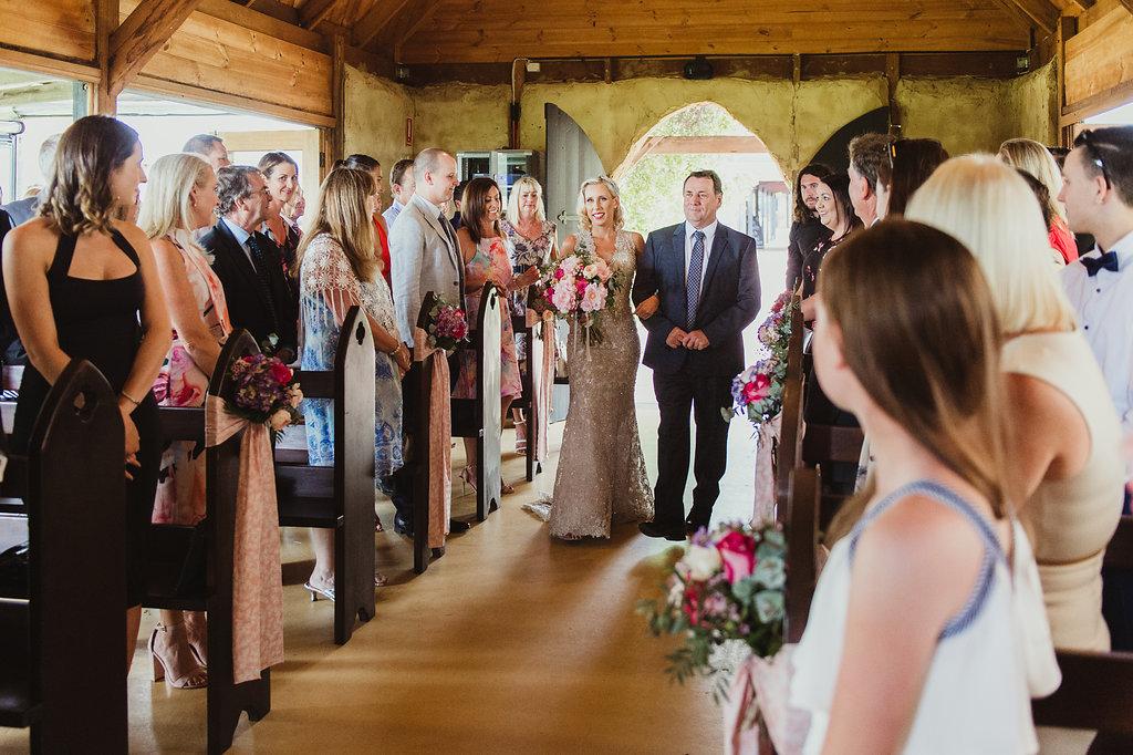 Ceremony Pew Flowers & Brides Wedding Bouquet - Wedding Flowers Hunter Valley