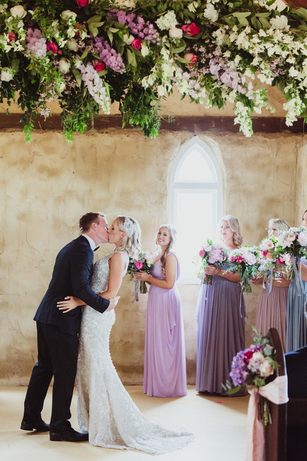 Hanging Flowers Installation - Wedding Flowers Hunter Valley
