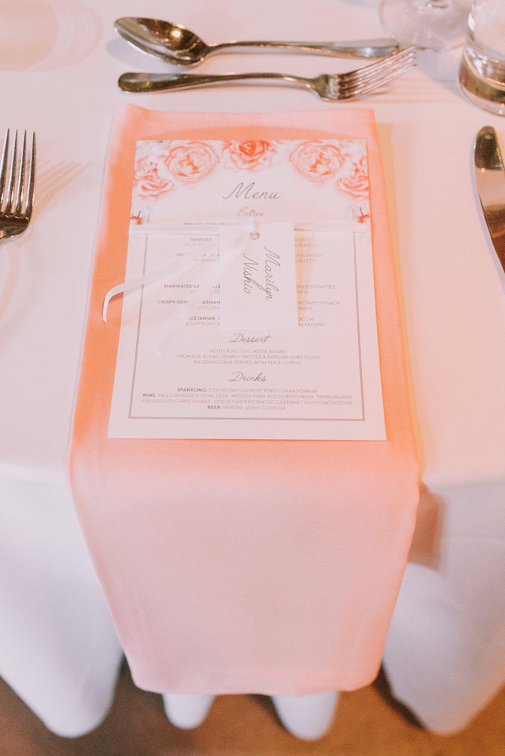 Printed Wedding Menu & Tabletop Hire Napkins - Wedding Styling & Invitations Hunter Valley