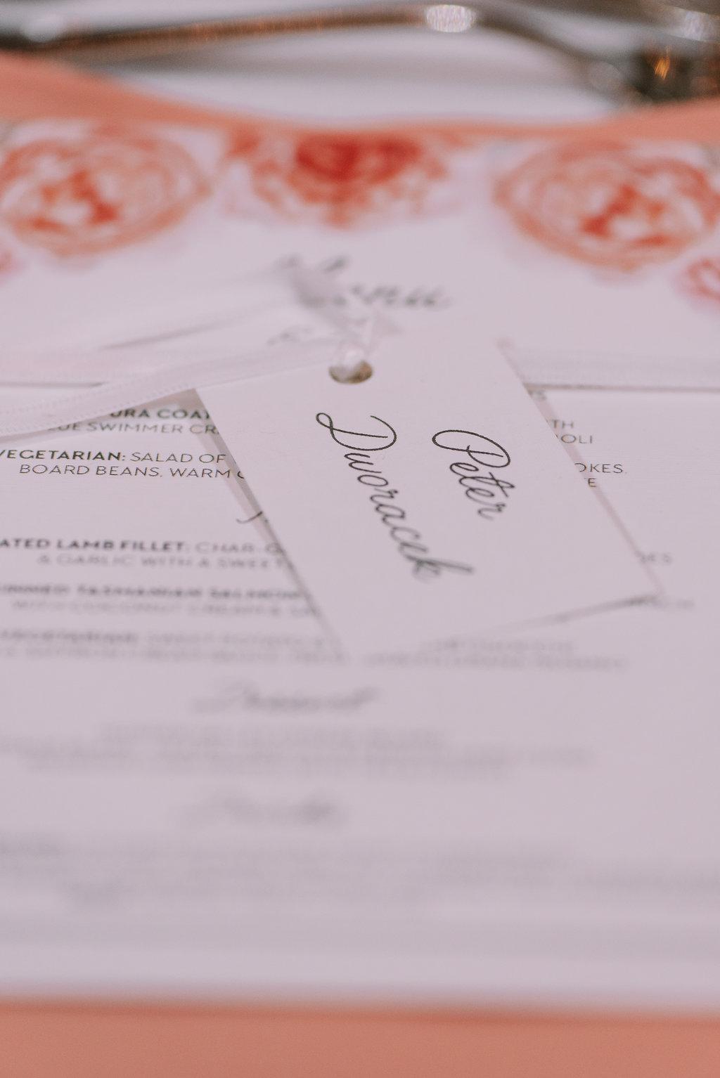Printed Wedding Menu & Place Card - Wedding Invitations Hunter Valley