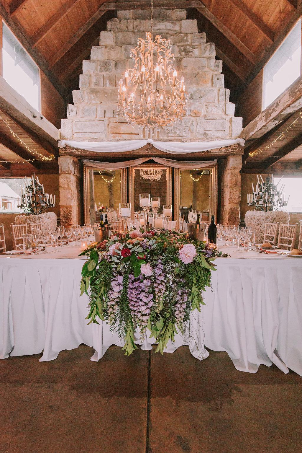 Bridal Table Flowers Installation - Wedding Flowers Hunter Valley
