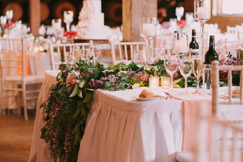 Bridal Table Flower Installation - Wedding Flowers Hunter Valley