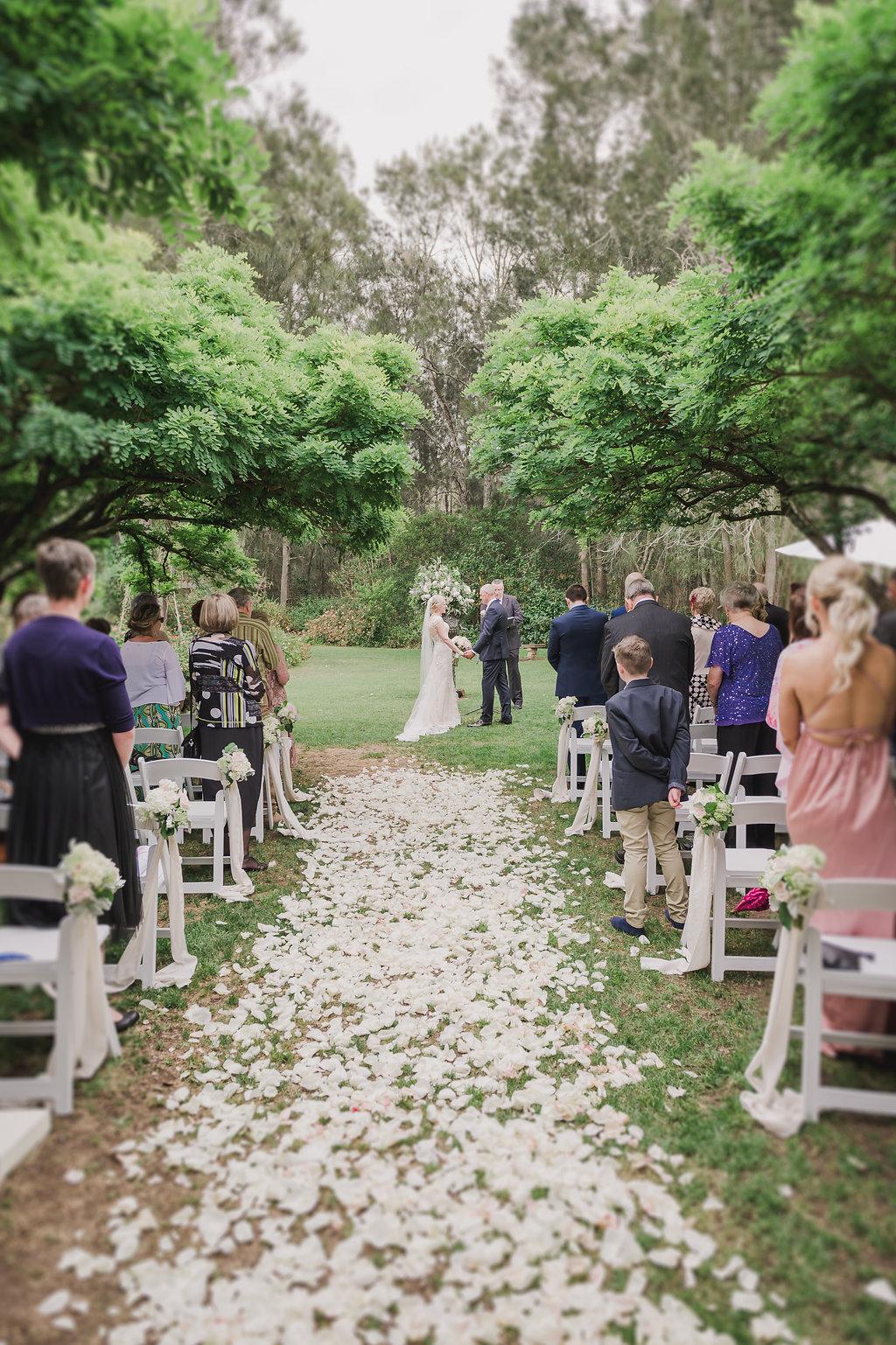 Ceremony Rose Petal Aisle - Wedding Flowers & Styling Hunter Valley
