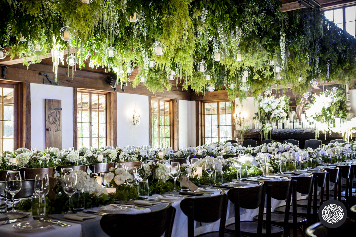 Hanging Greenery Installation + Flower Centrepieces - Wedding Flowers + Styling Hunter Valley