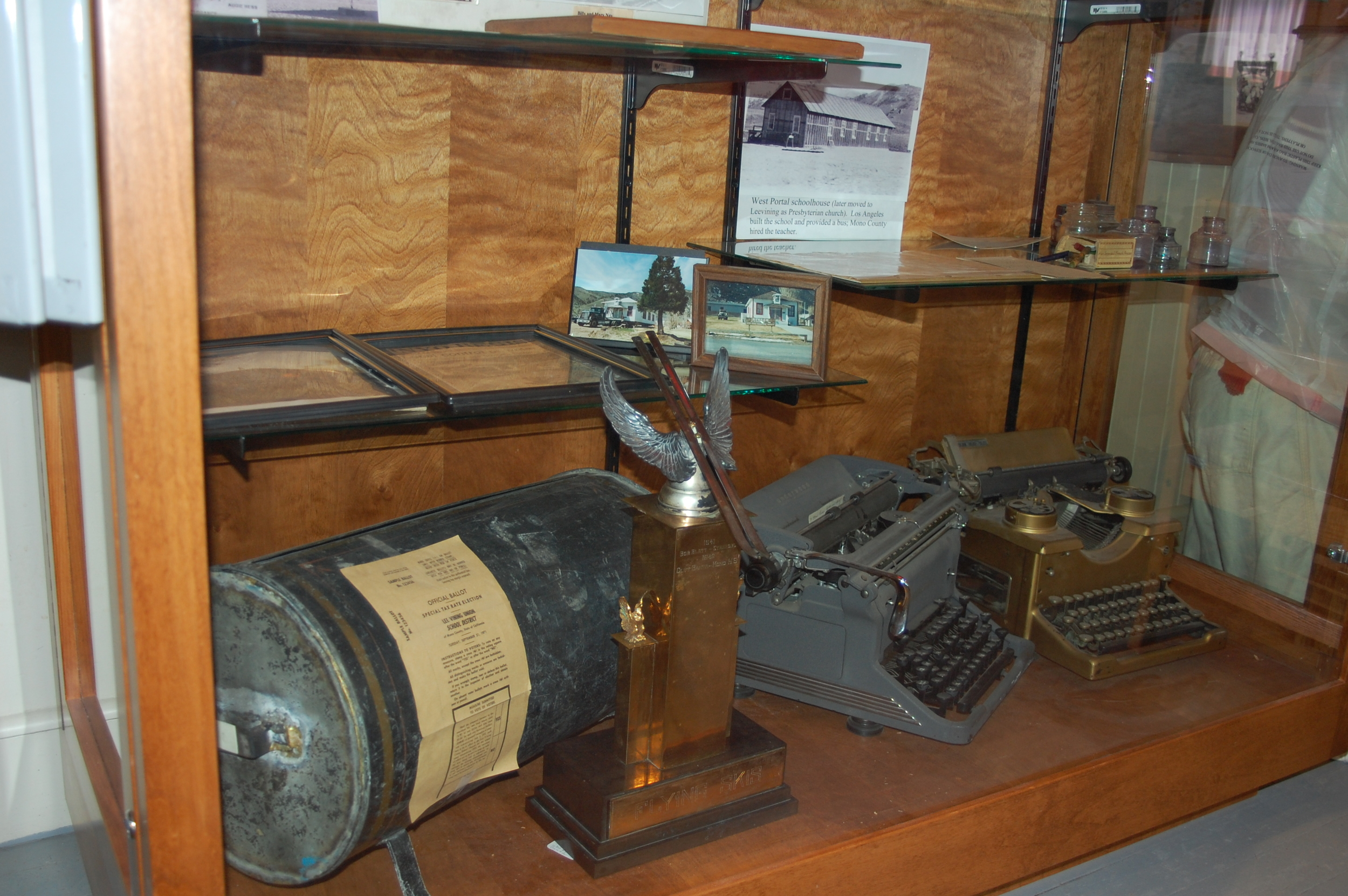 school ballot box typewriters ski trophy.JPG