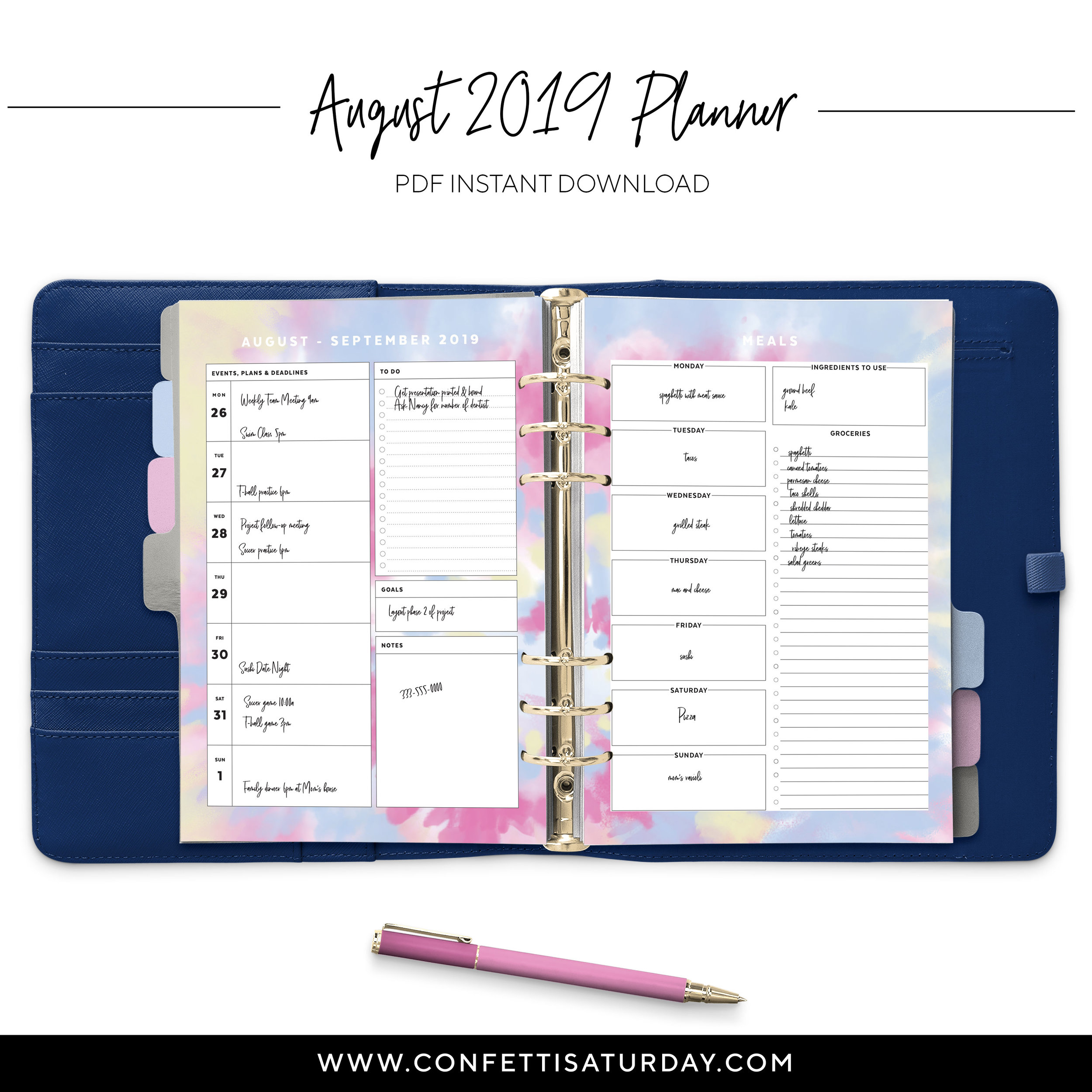 Printable Tie Dye Planner Pages