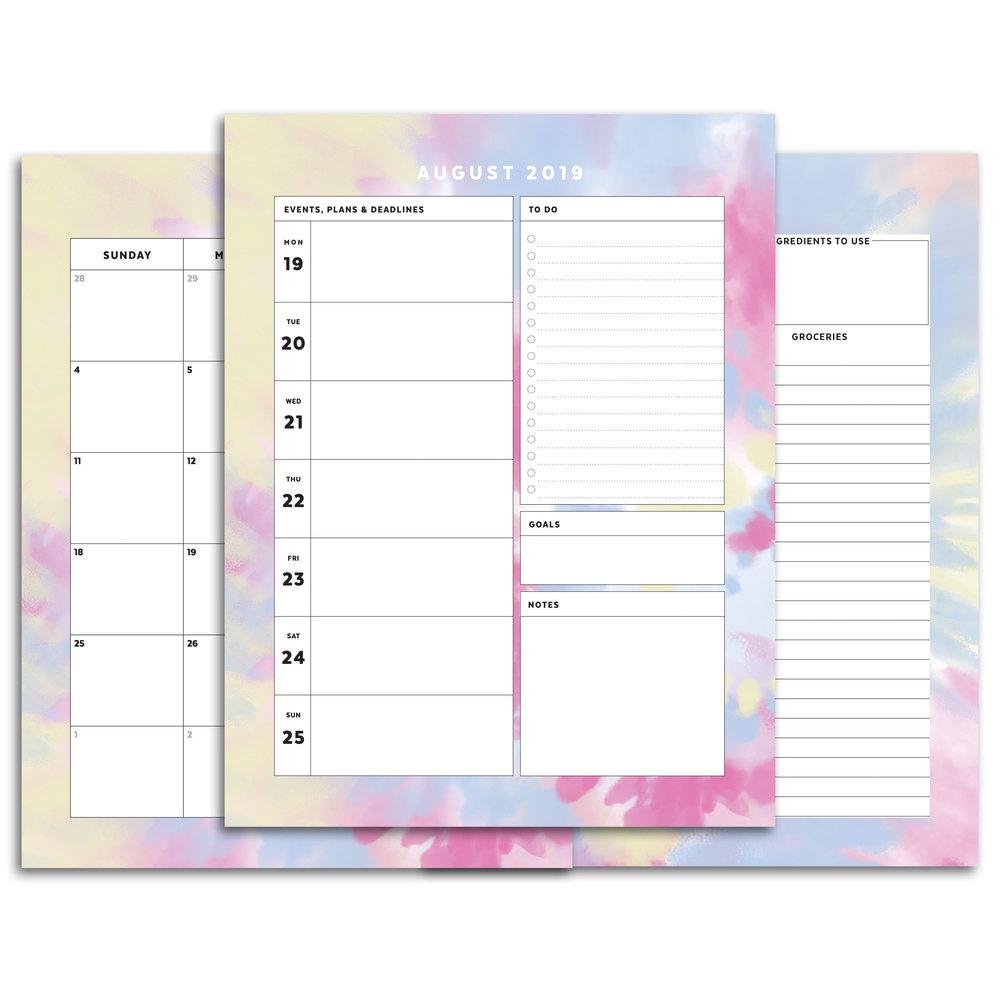 Tie Dye Printable Planner