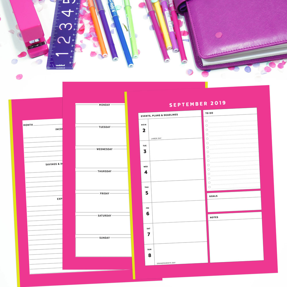Neon Pink and Yellow Printable Planner