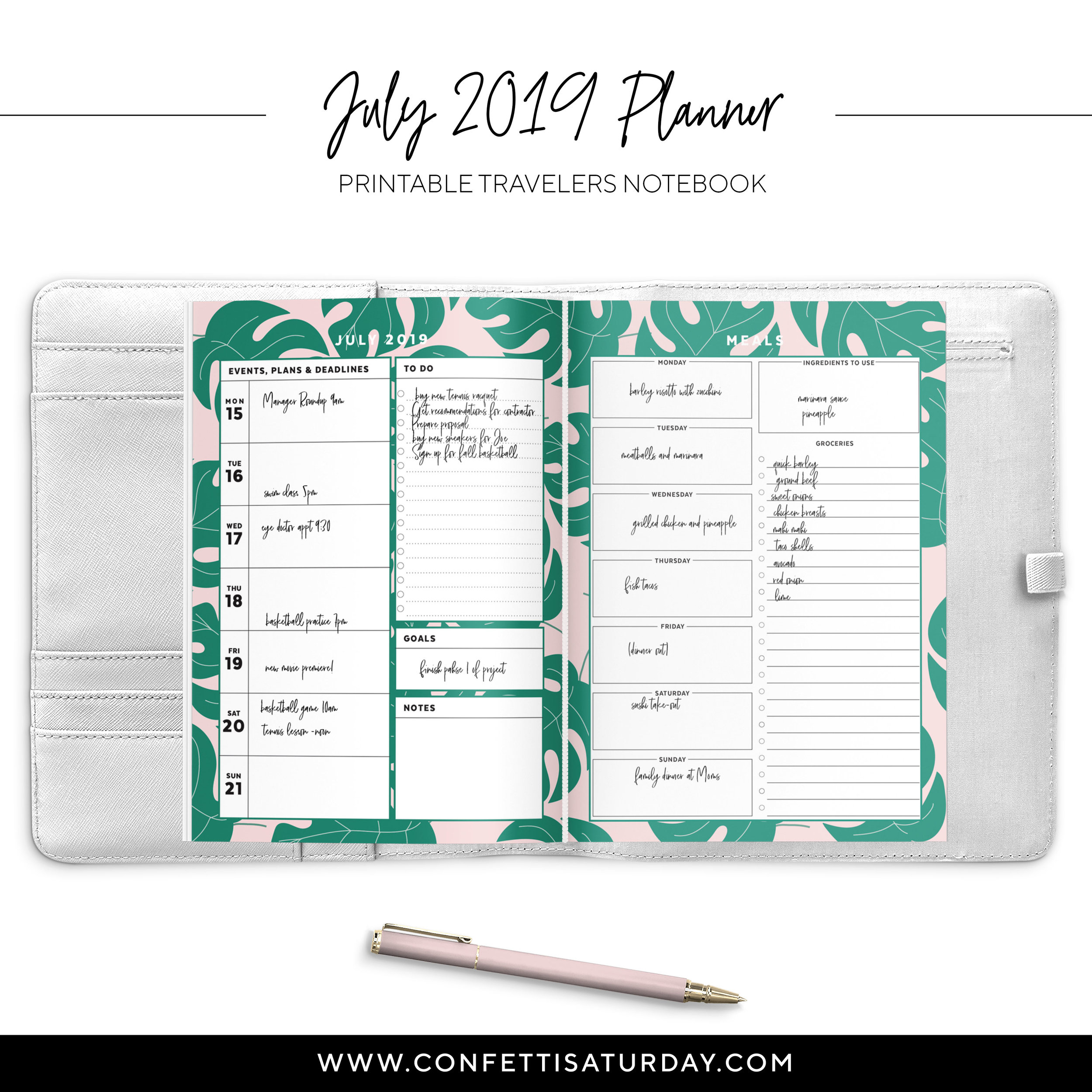 Printable Pink and Green Palms Planner Pages