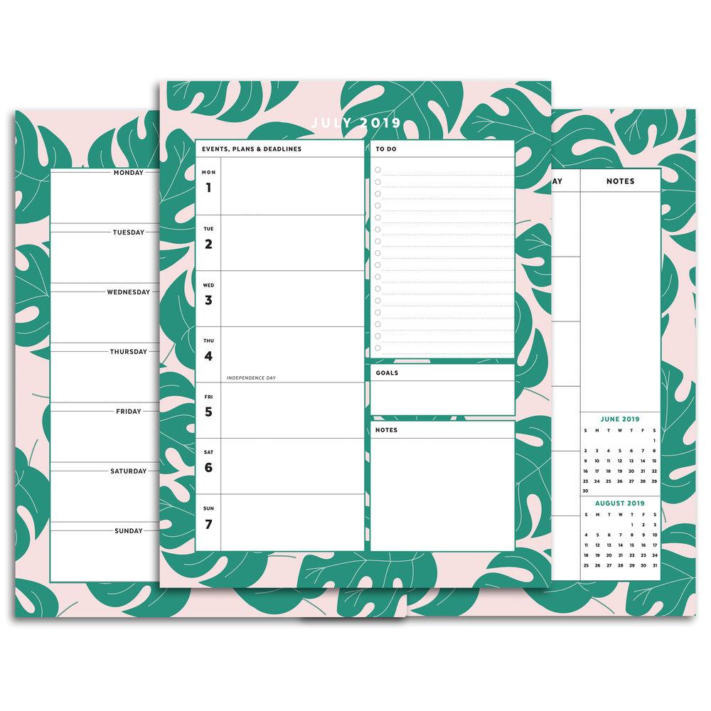 Summer Palm Leaves Printable Planner