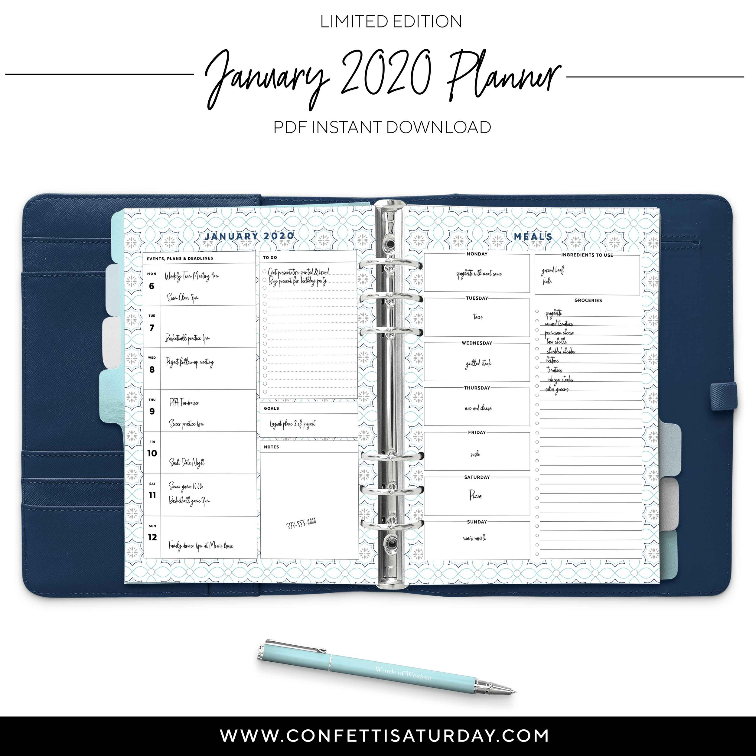 Printable January Planner Pages