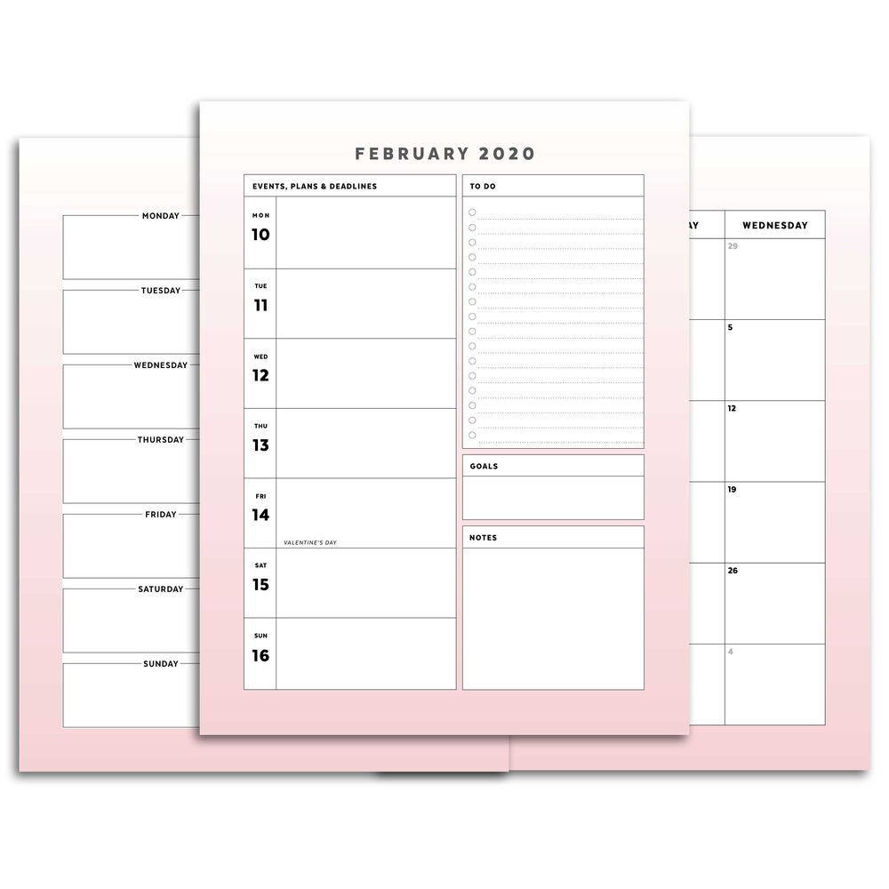 Pink Ombre Printable Planner