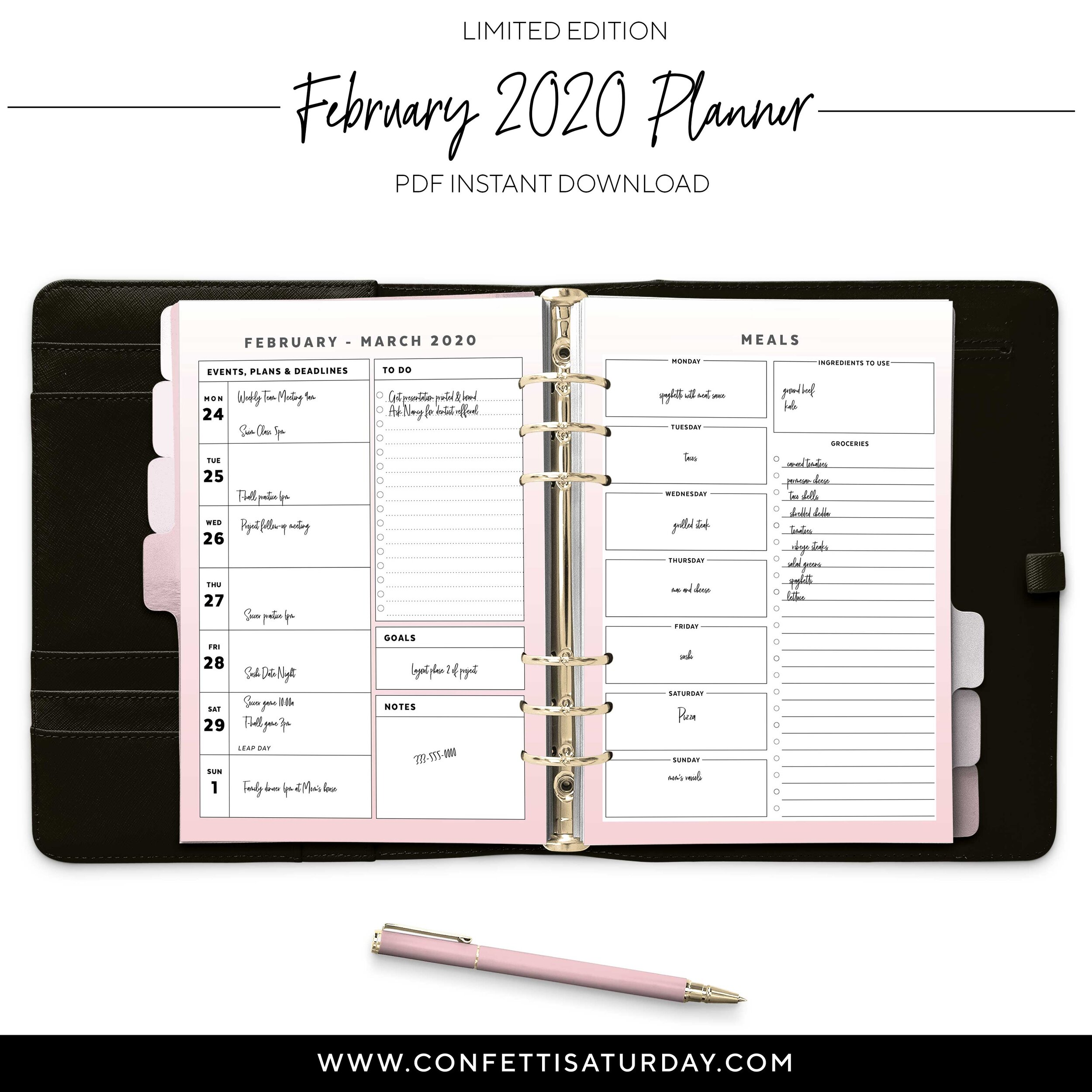 Printable February Planner Pages