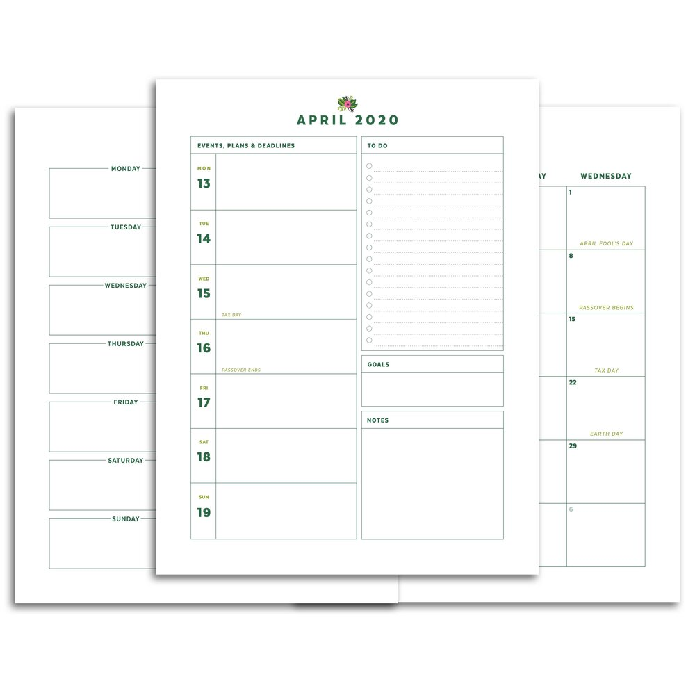 April 2020 Printable Planner