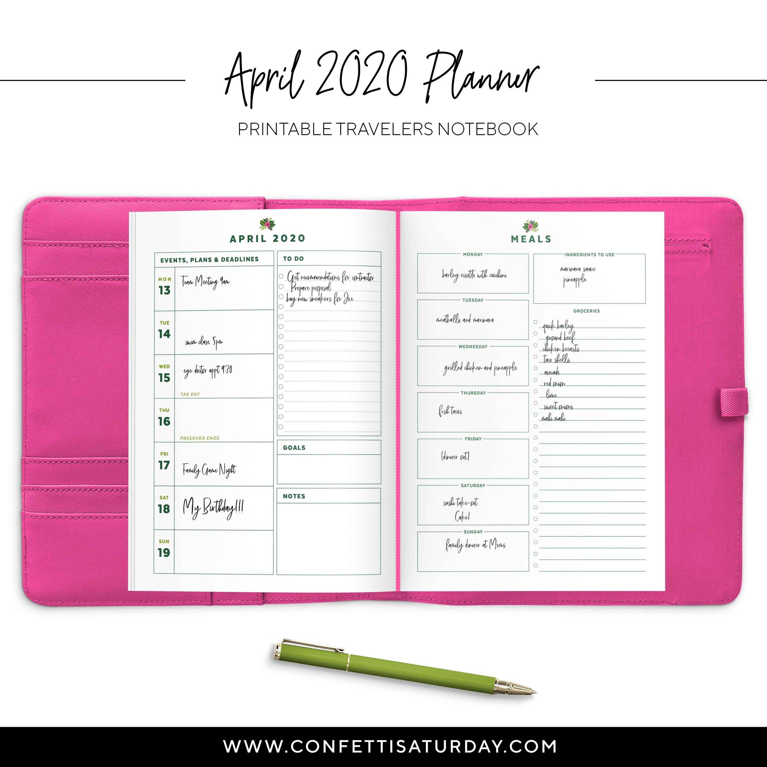 Printable April TN Insert