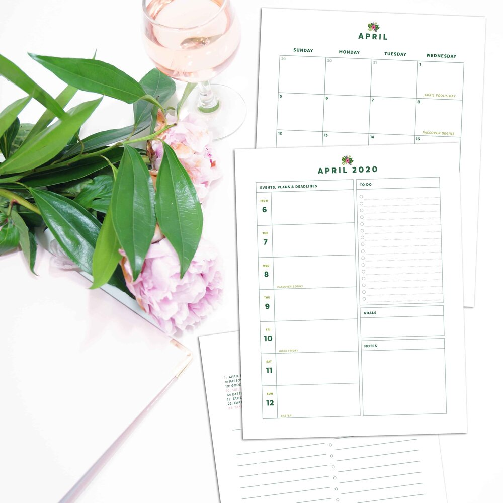 Pink and Green Floral Printable Planner